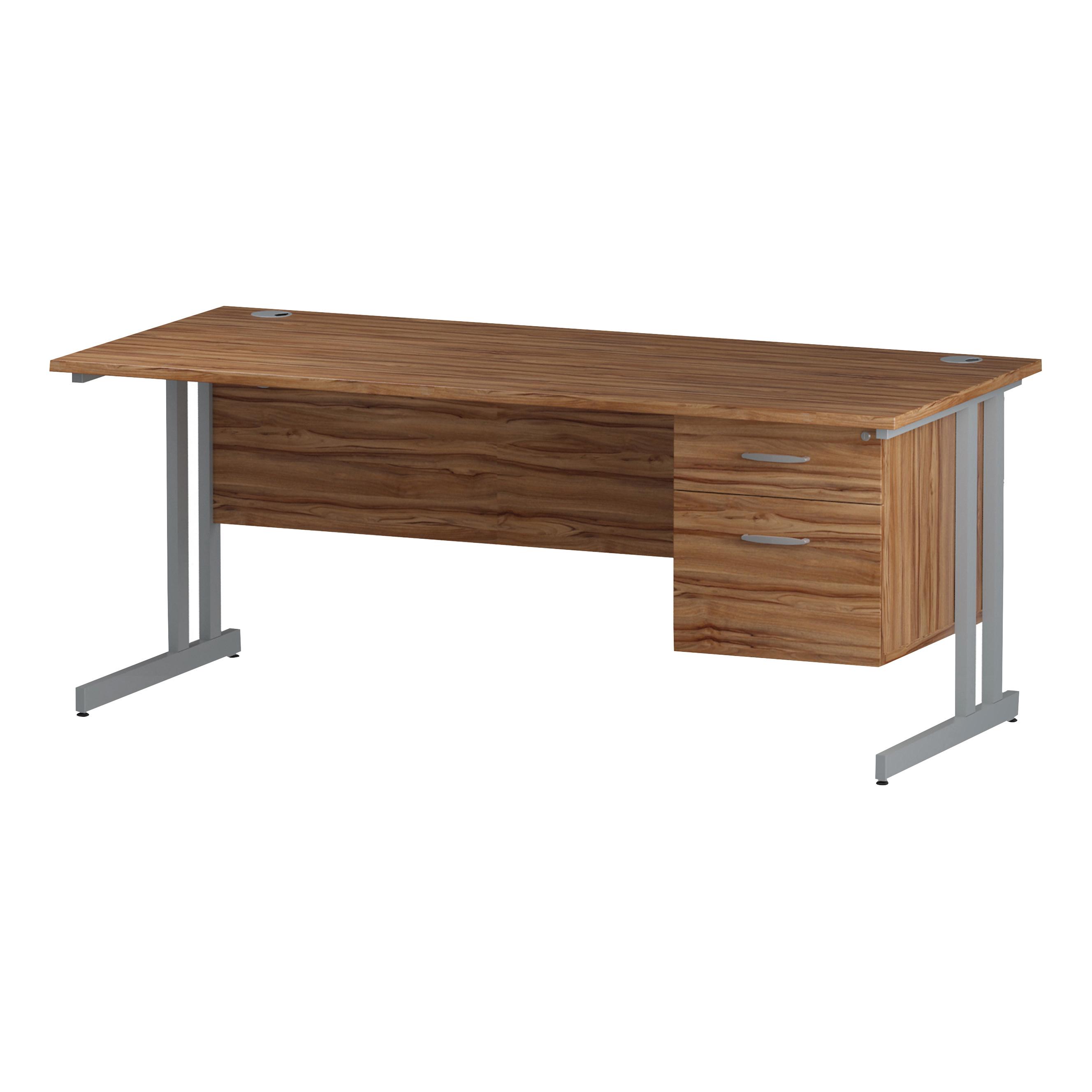 Trexus Rectangular Desk Silver Cantilever Leg 1800x800mm Fixed Pedestal 2 Drawers Walnut Ref I001922