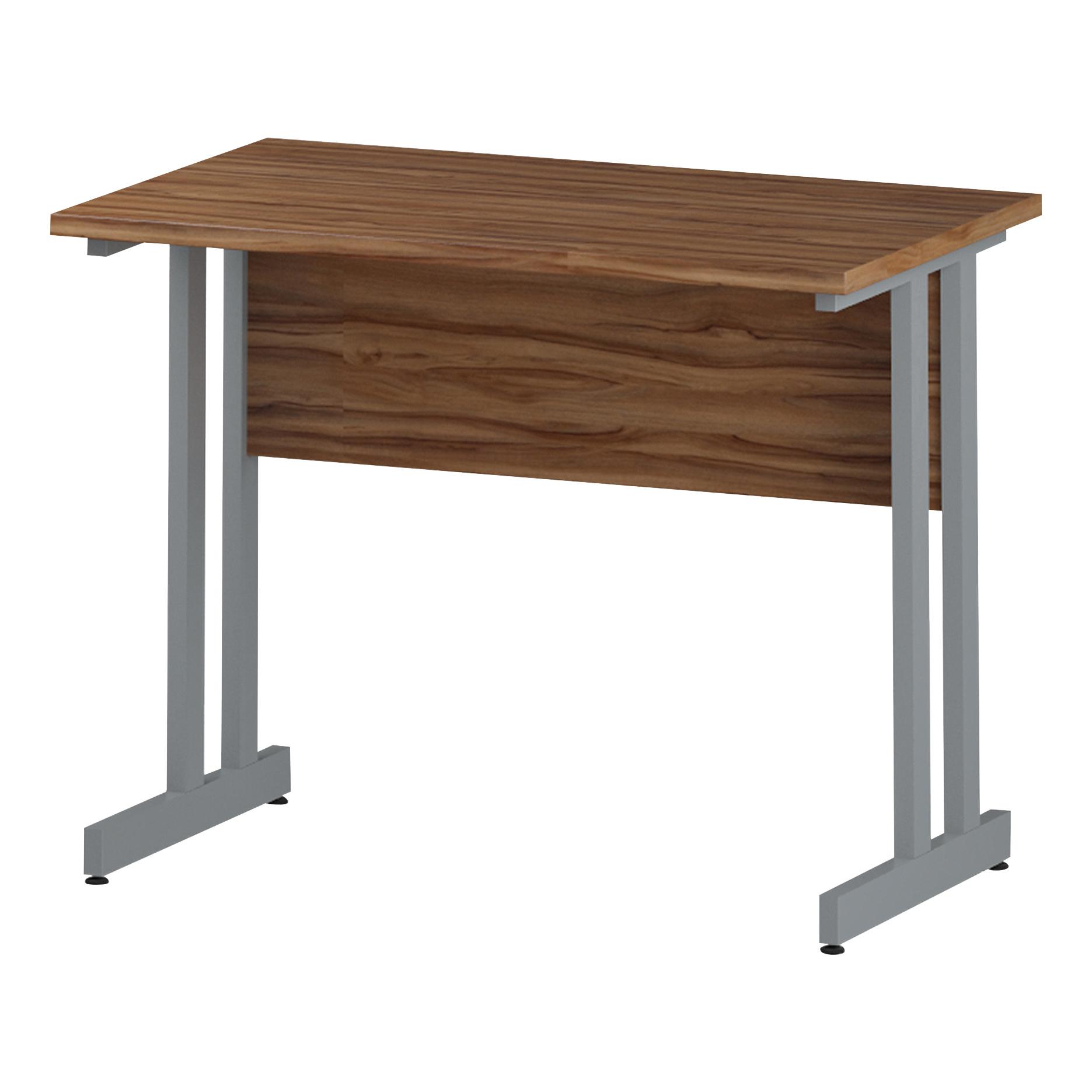 Trexus Rectangular Slim Desk Silver Cantilever Leg 1000x600mm Walnut Ref I001909