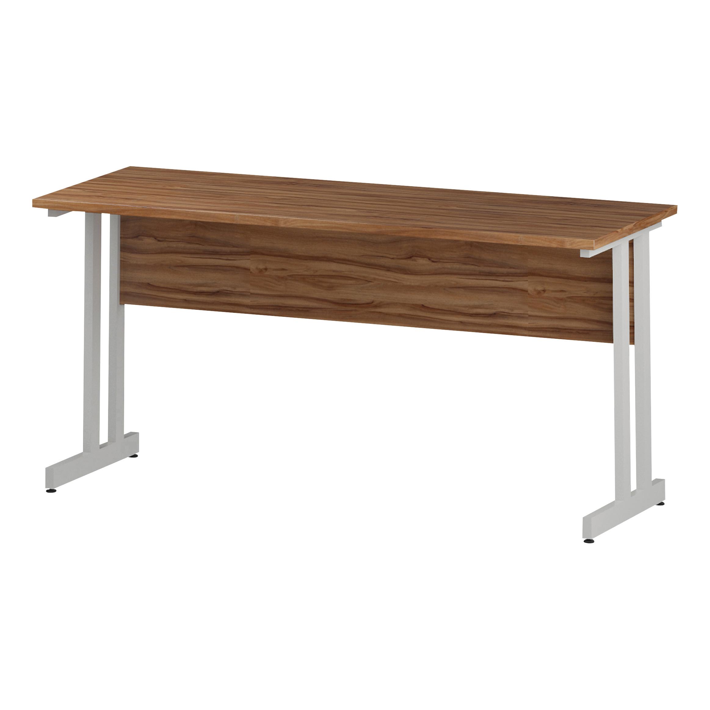 Trexus Rectangular Slim Desk White Cantilever Leg 1600x600mm Walnut Ref I001917