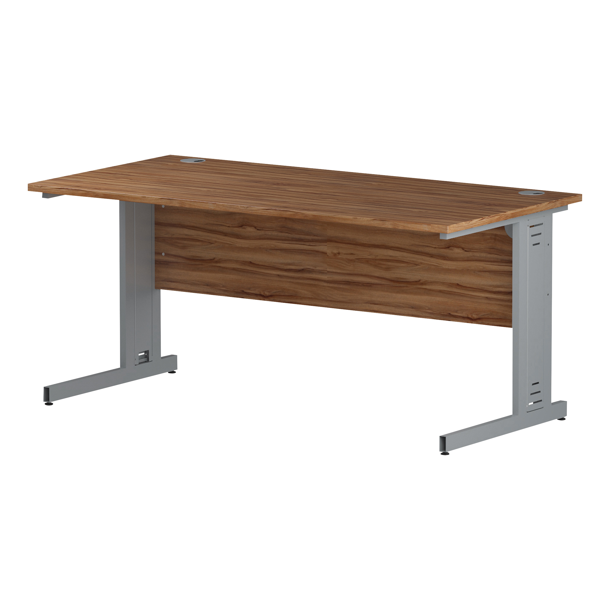 Trexus Rectangular Desk Silver Cable Managed Leg 1600x800mm Walnut Ref I001992