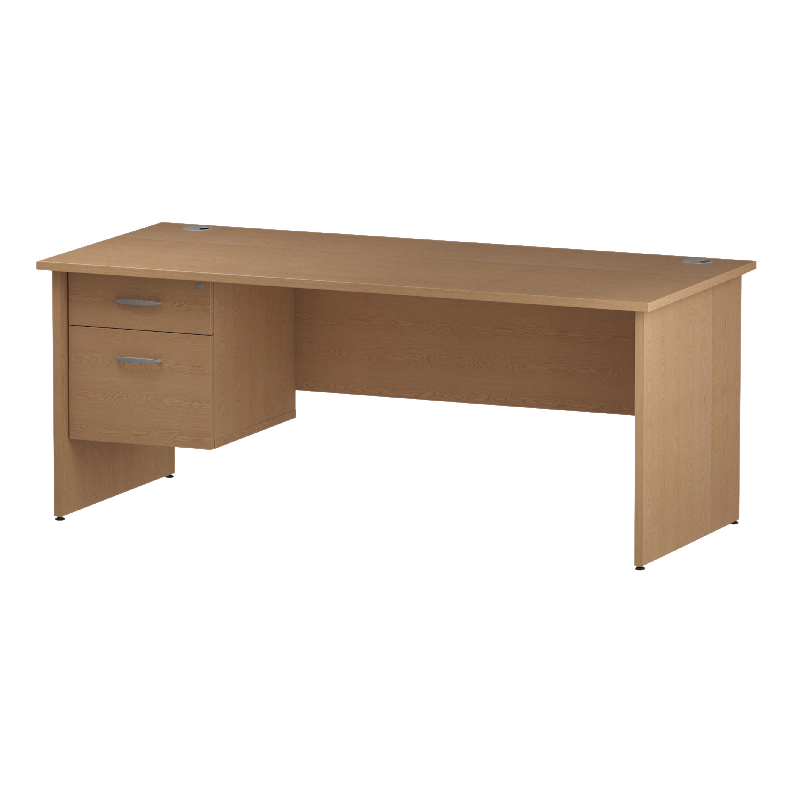 Trexus Rectangular Desk Panel End Leg 1800x800mm Fixed Pedestal 2 Drawers Oak Ref I002705