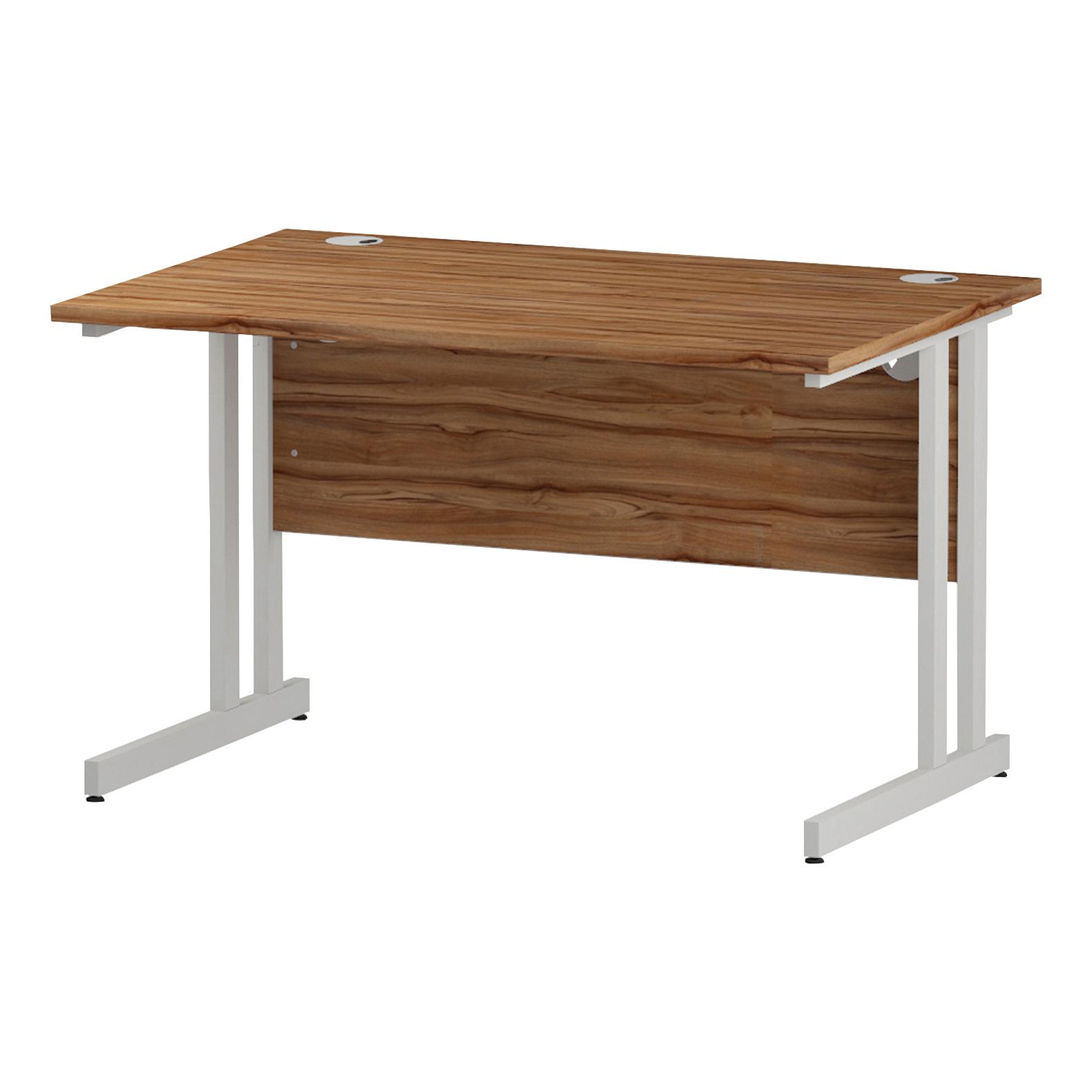 Trexus Rectangular Desk White Cantilever Leg 1200x800mm Walnut Ref I001905