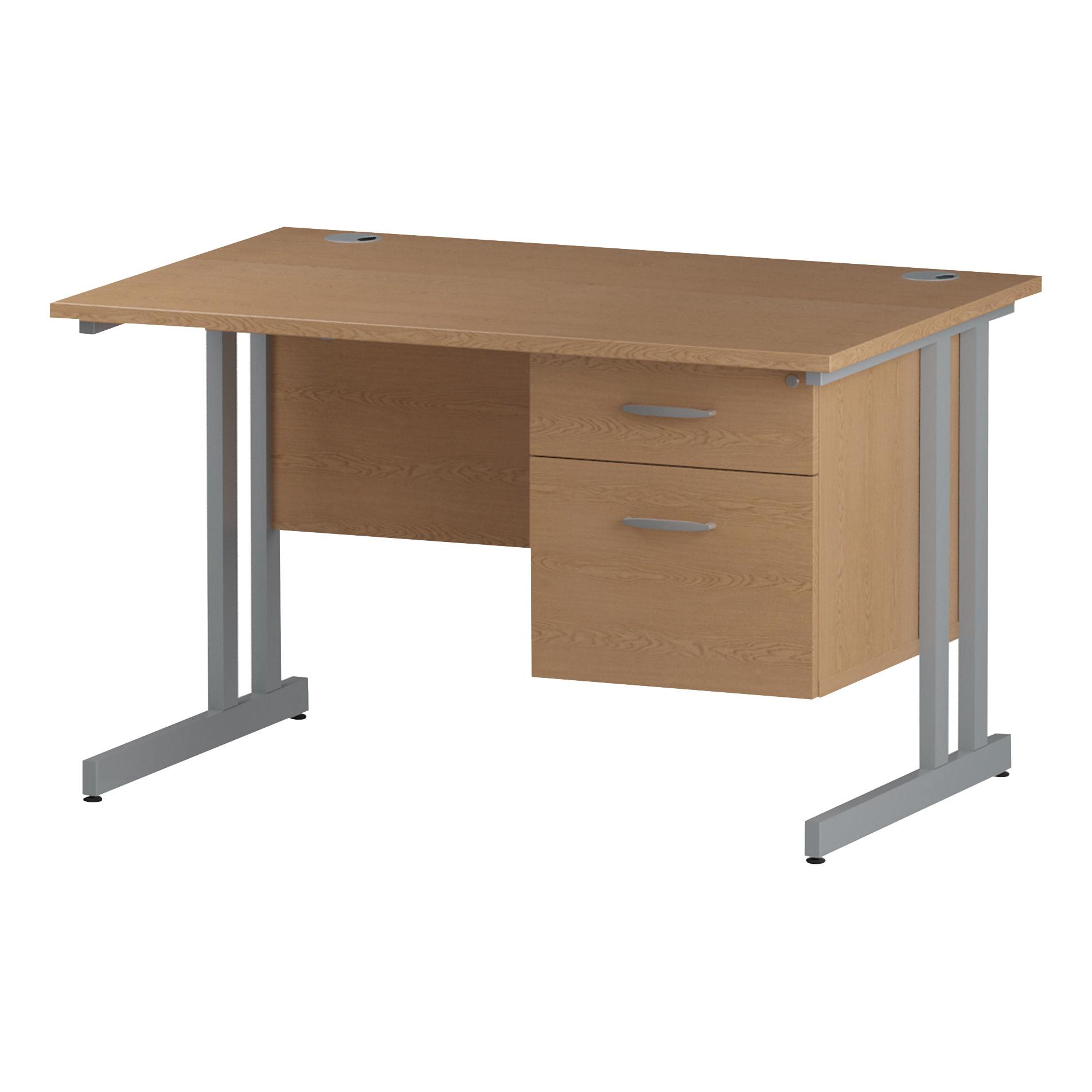 Trexus Rectangular Desk Silver Cantilever Leg 1200x800mm Fixed Pedestal 2 Drawers Oak Ref I002657