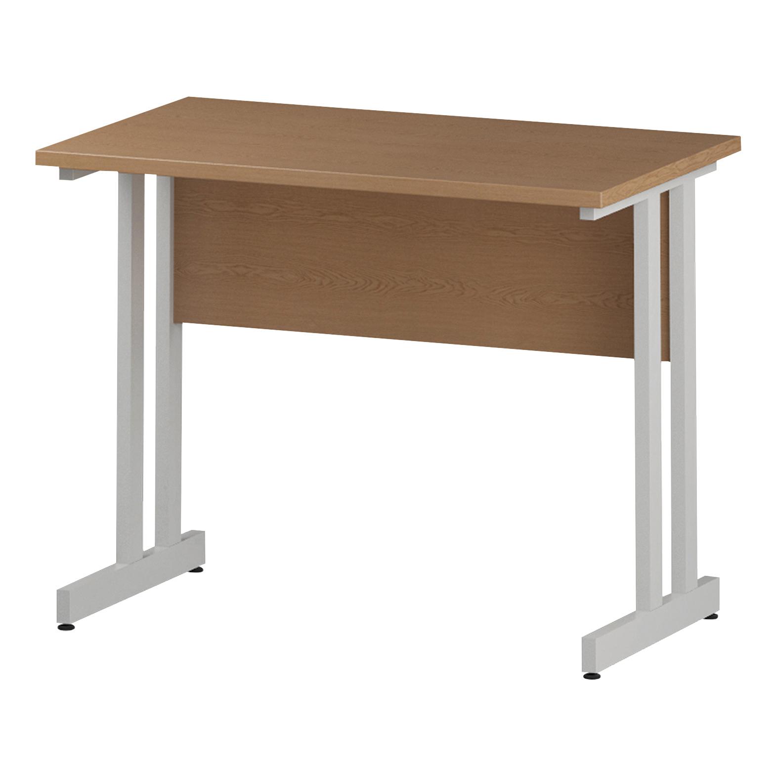 Trexus Rectangular Slim Desk White Cantilever Leg 1000x600mm Oak Ref I002652