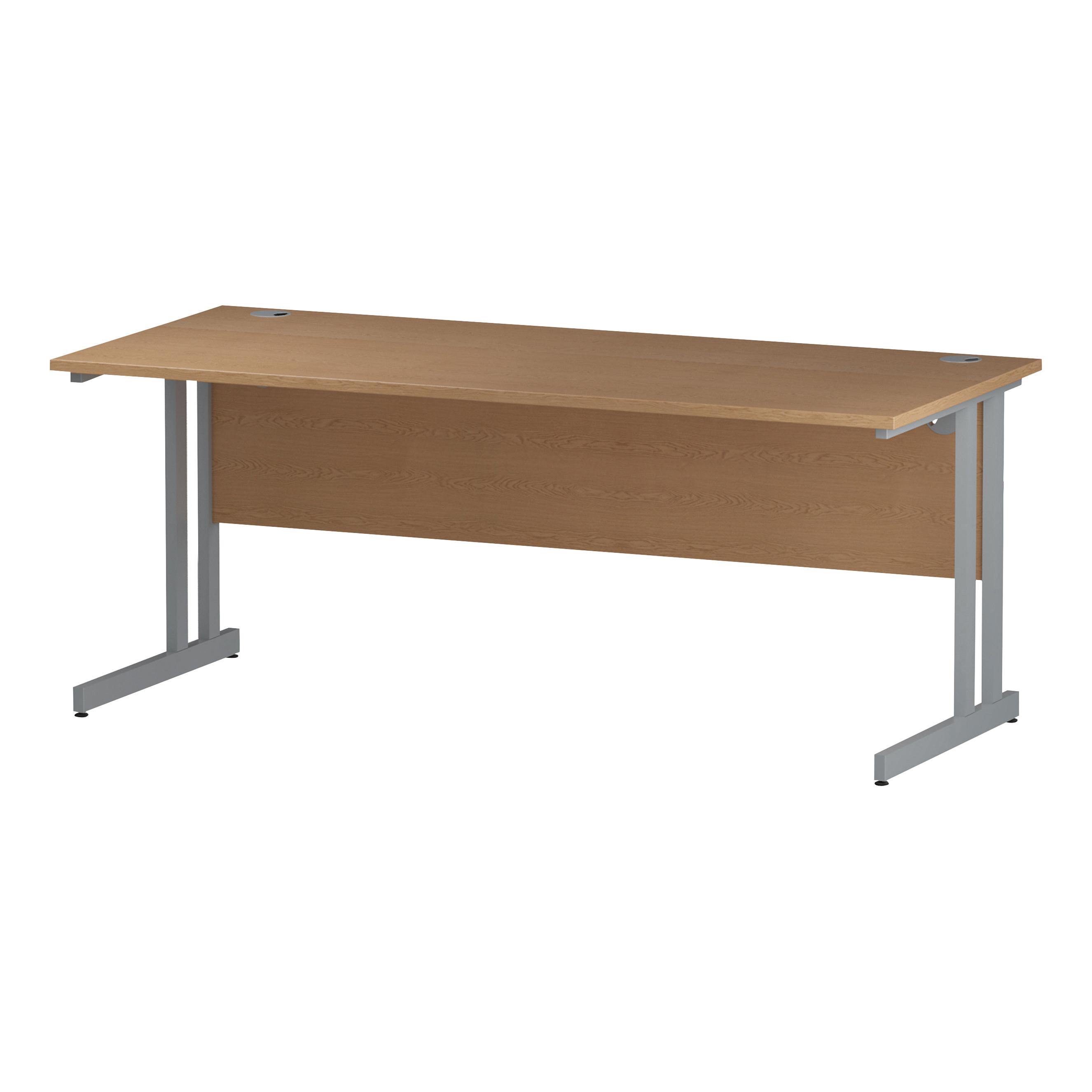 Trexus Rectangular Slim Desk Silver Cantilever Leg 1800x600mm Oak Ref I002651
