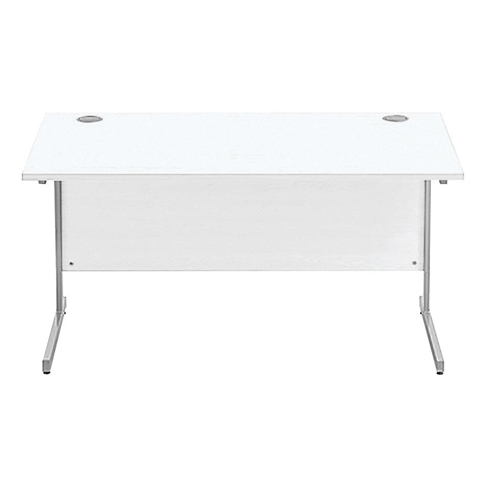 Sonix Rectangular Desk Silver Cantilever Leg 1400x800mm Polar White Ref w9670wh