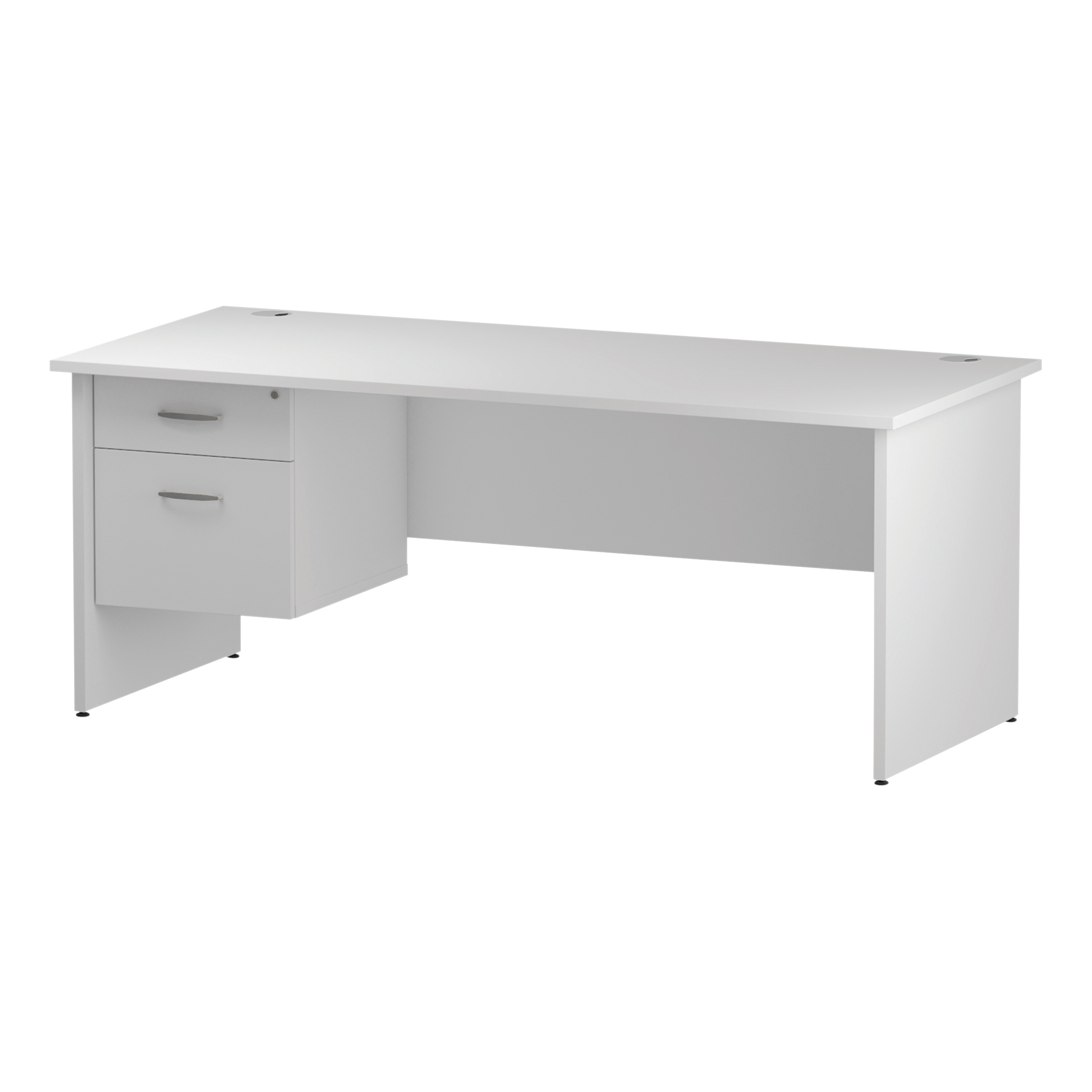 Trexus Rectangular Desk Panel End Leg 1800x800mm Fixed Pedestal 2 Drawers White Ref I002253