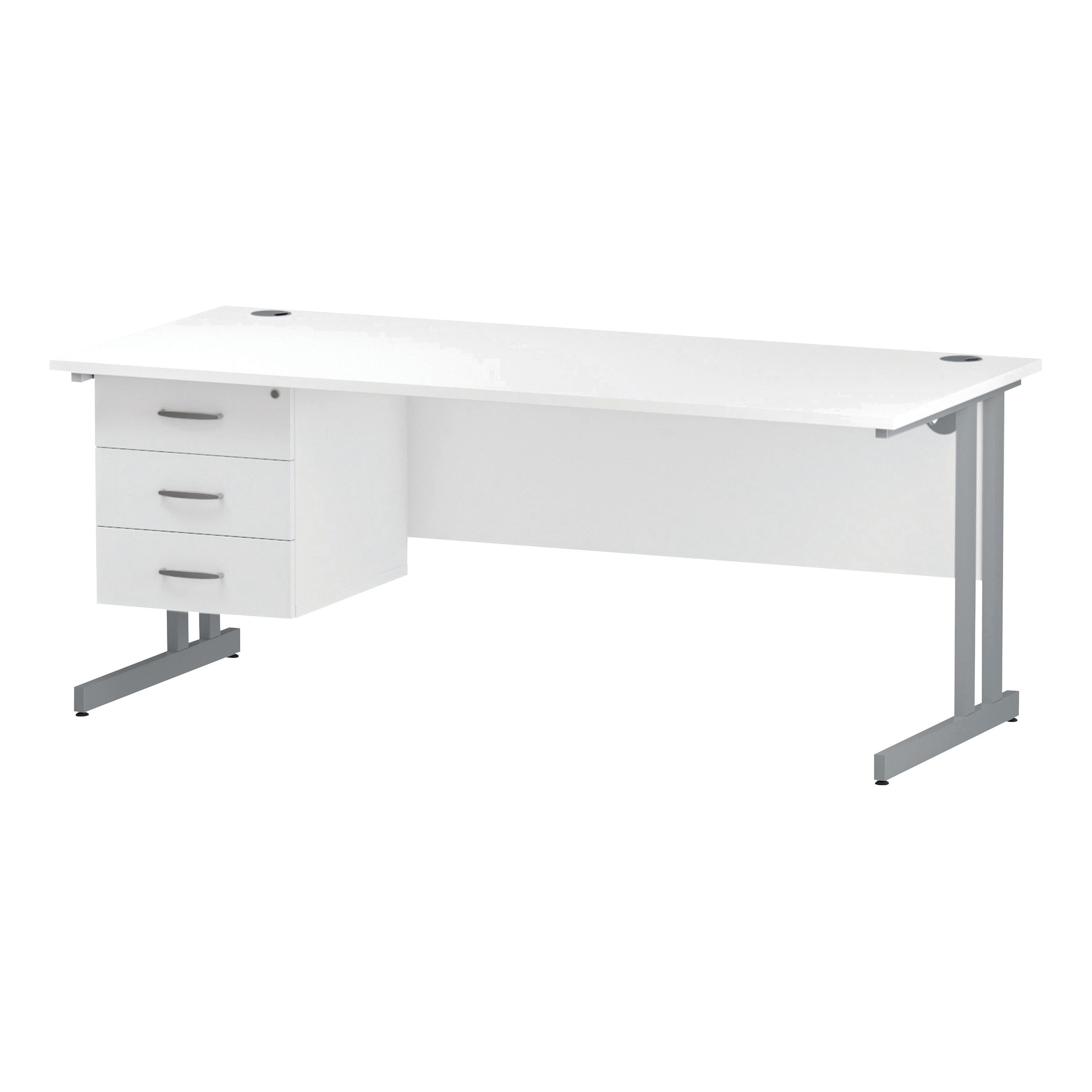 Trexus Rectangular Desk Silver Cantilever Leg 1800x800mm Fixed Pedestal 3 Drawers White Ref I002216