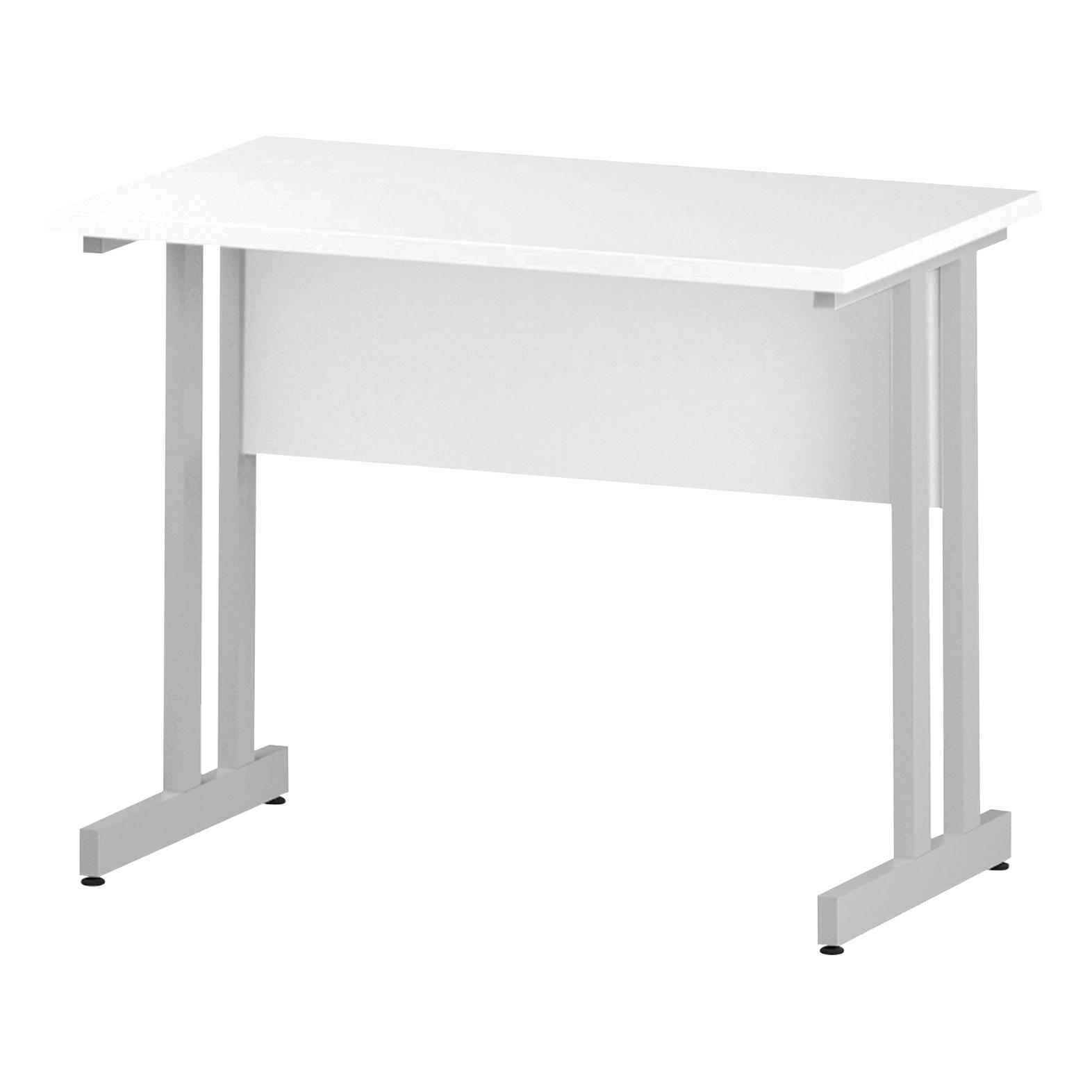 Trexus Rectangular Slim Desk White Cantilever Leg 1000x600mm White Ref I002200