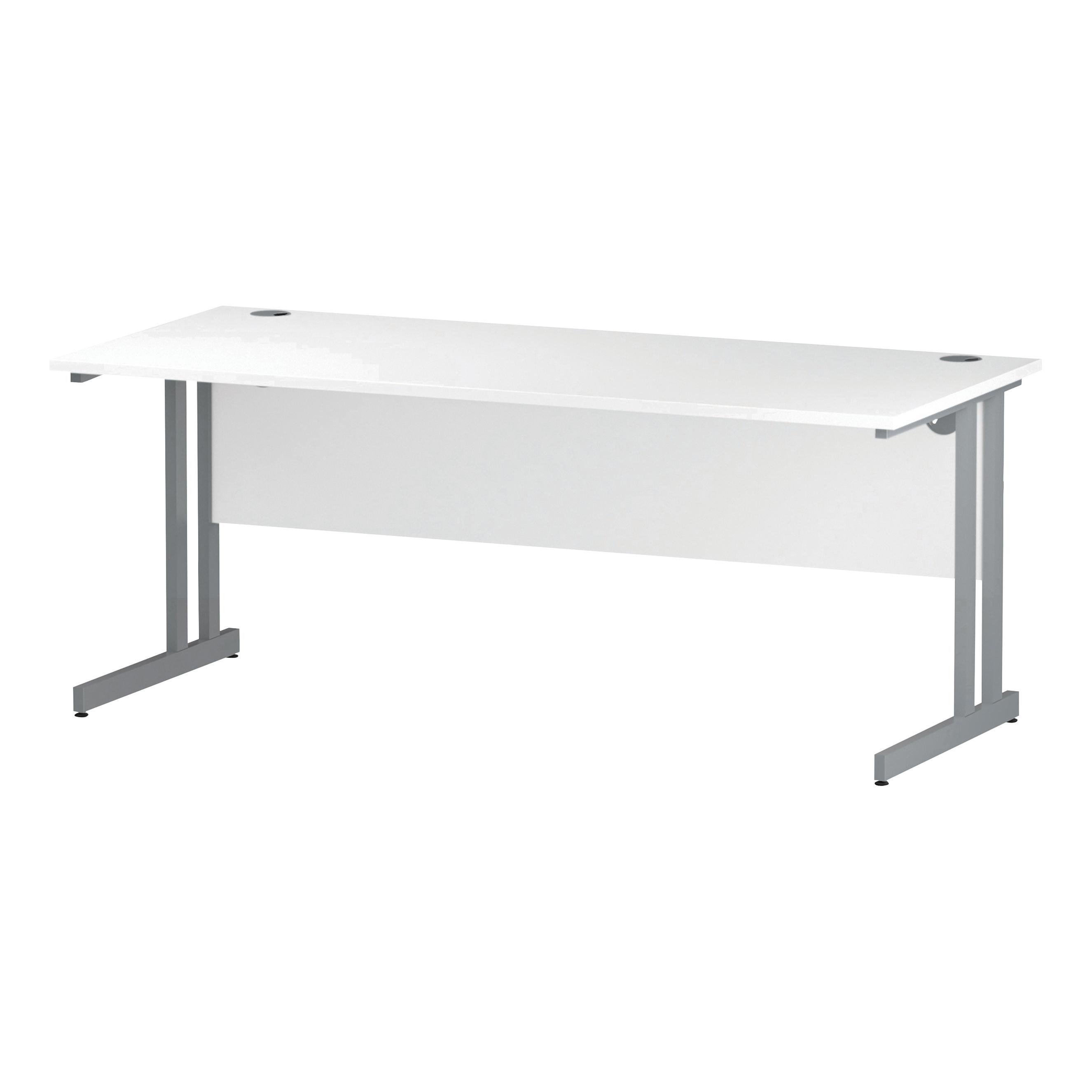 Trexus Rectangular Slim Desk Silver Cantilever Leg 1800x600mm White Ref I002199