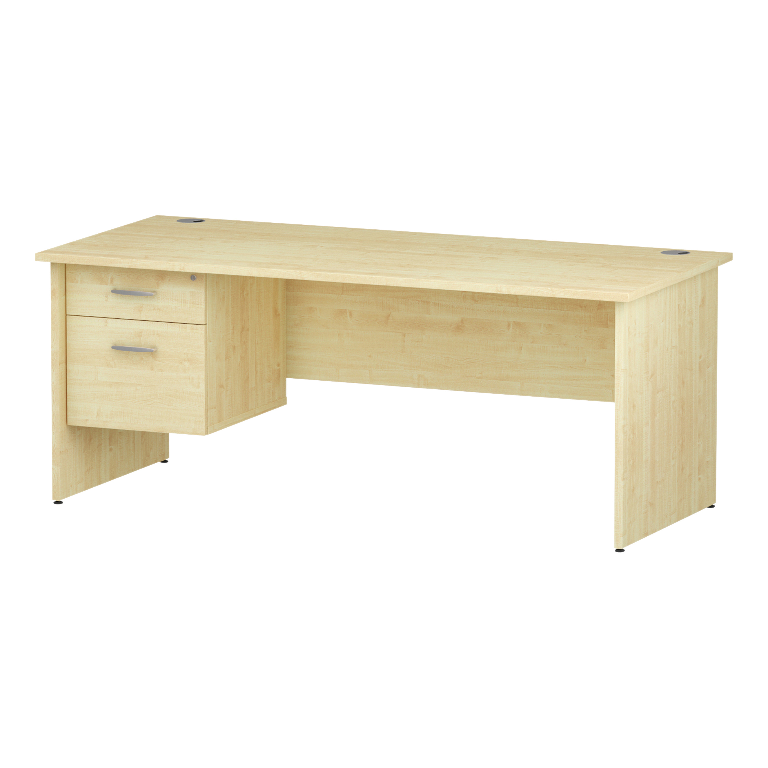 Trexus Rectangular Desk Panel End Leg 1800x800mm Fixed Pedestal 2 Drawers Maple Ref I002479