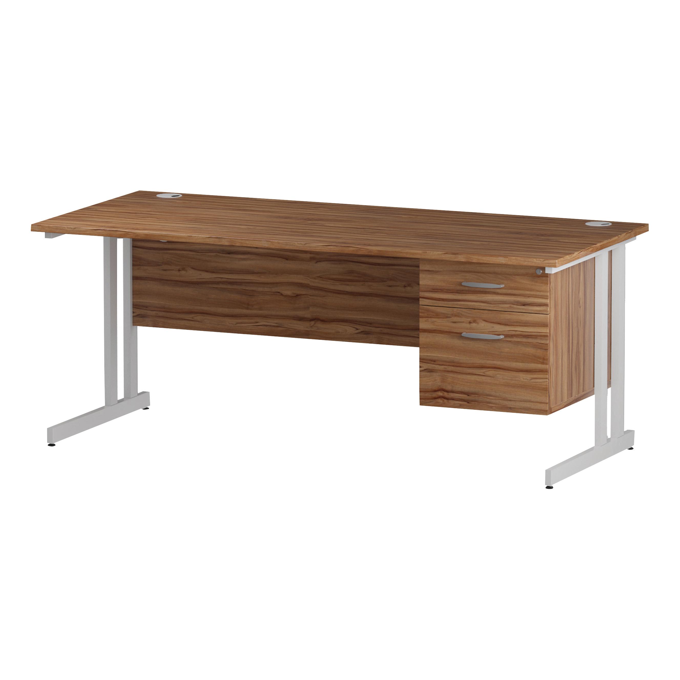 Trexus Rectangular Desk White Cantilever Leg 1800x800mm Fixed Pedestal 2 Drawers Walnut Ref I001926