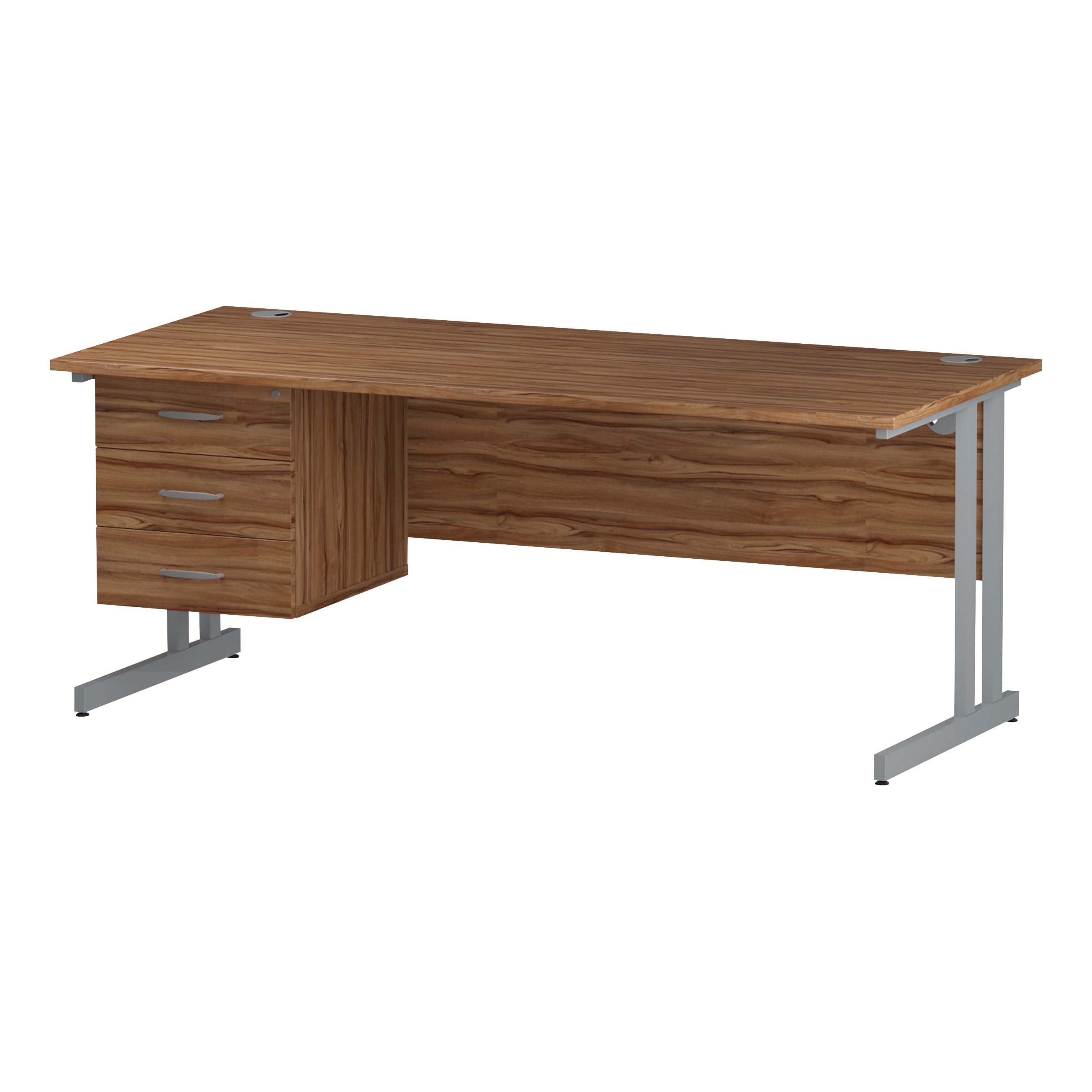 Trexus Rectangular Desk Silver Cantilever Leg 1800x800mm Fixed Pedestal 3 Drawers Walnut Ref I001930