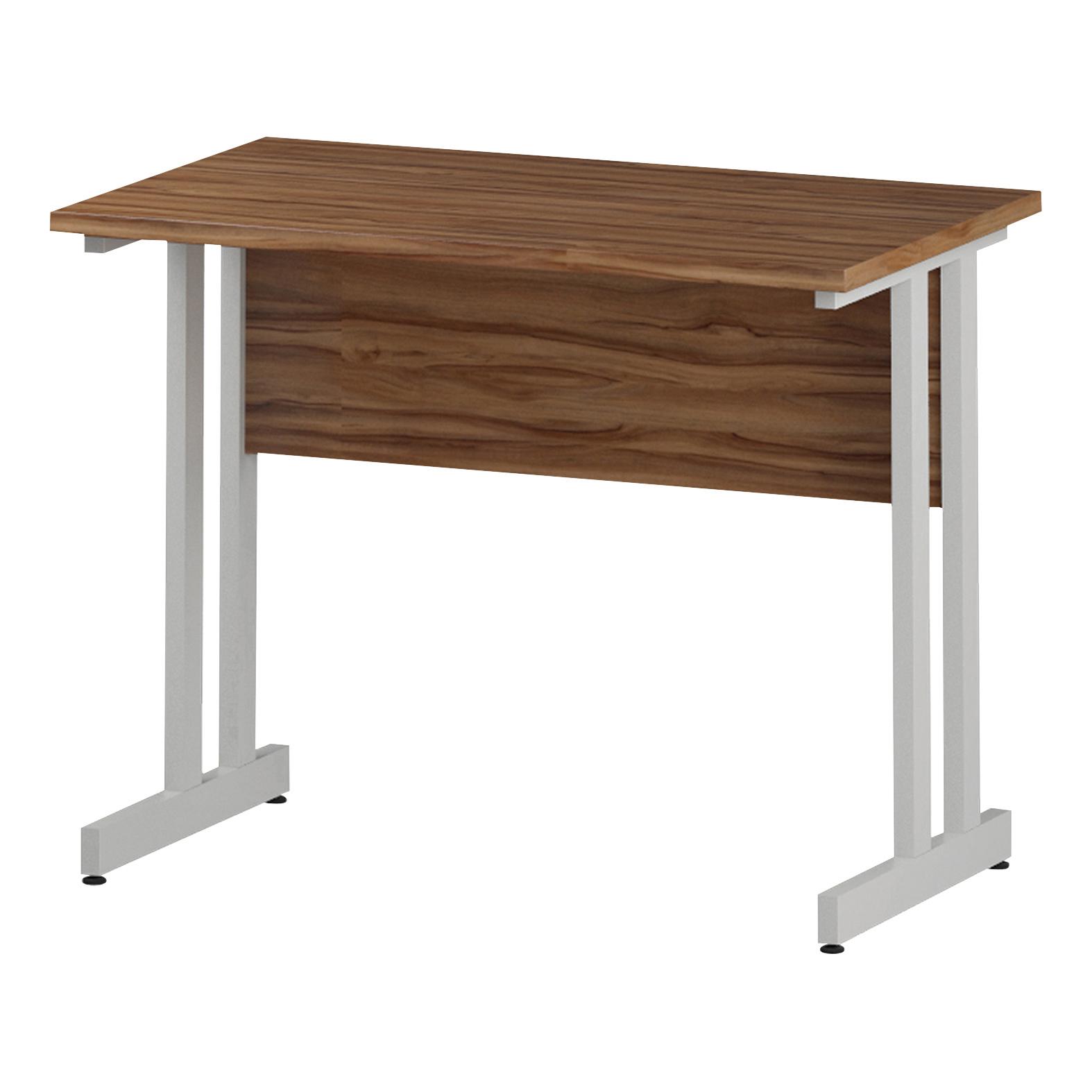 Trexus Rectangular Slim Desk White Cantilever Leg 1000x600mm Walnut Ref I001914