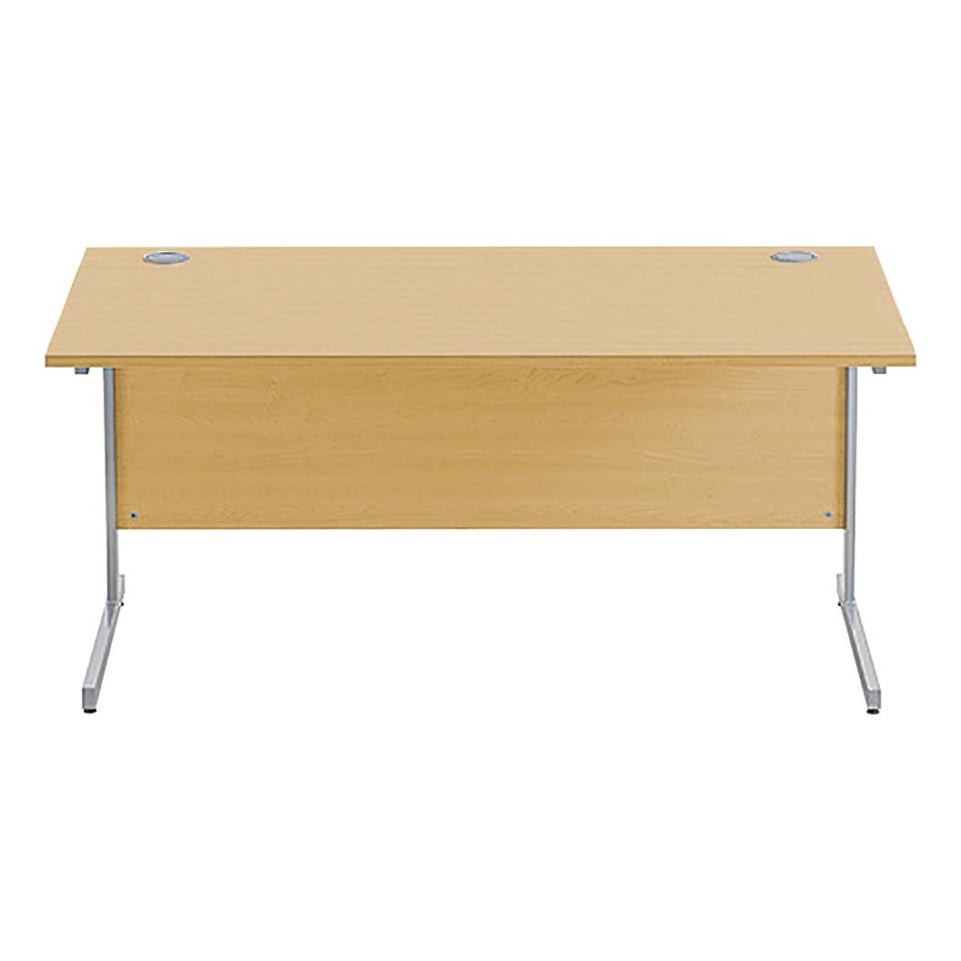 Sonix Rectangular Desk Silver Cantilever Leg 1600x800mm Natural Oak Ref w9685o