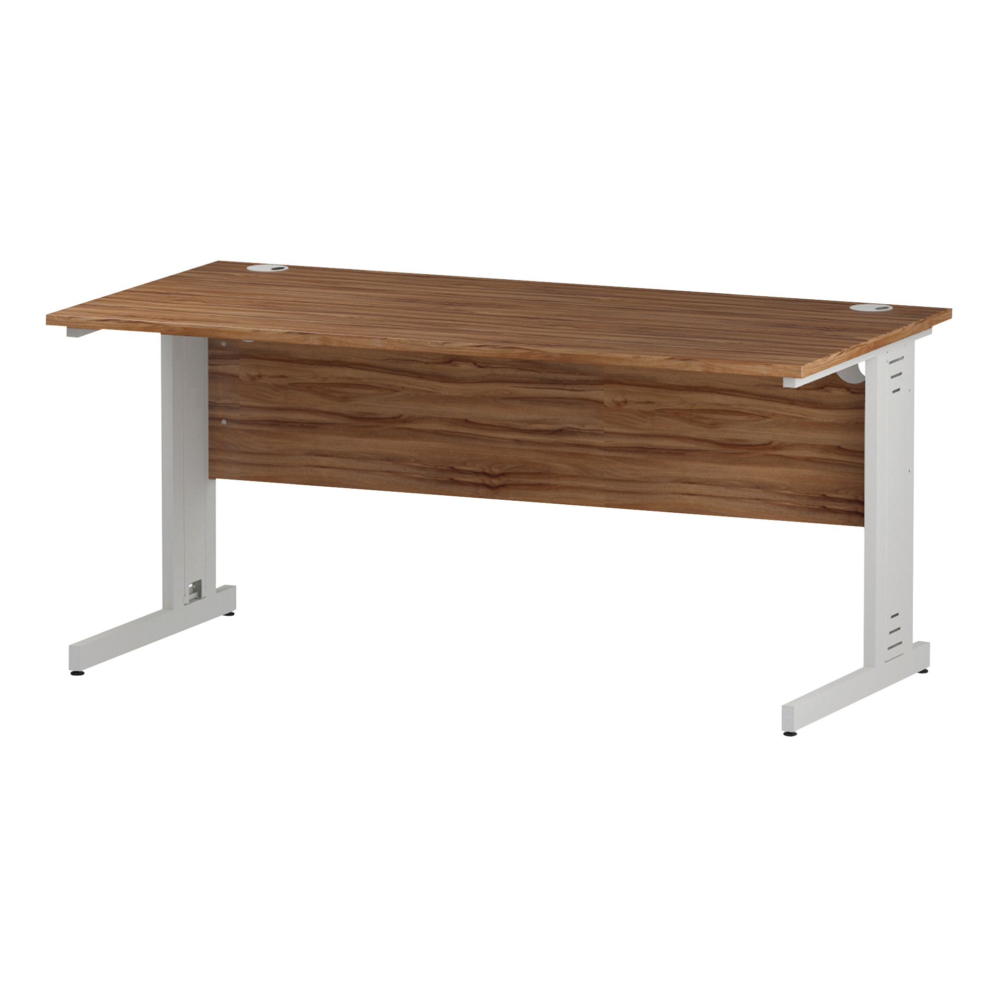 Trexus Rectangular Desk White Cable Managed Leg 1600x800mm Walnut Ref I001997