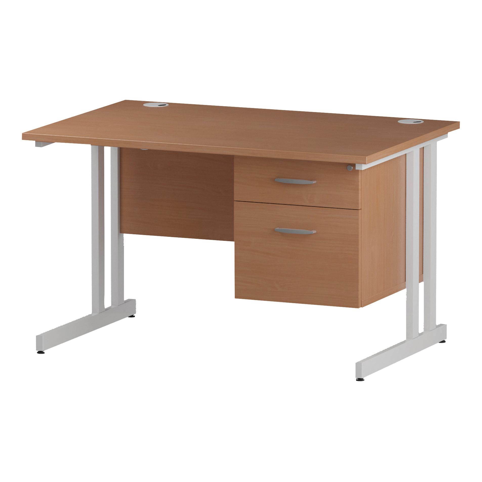Trexus Rectangular Desk White Cantilever Leg 1200x800mm Fixed Pedestal 2 Drawers Beech Ref I001692
