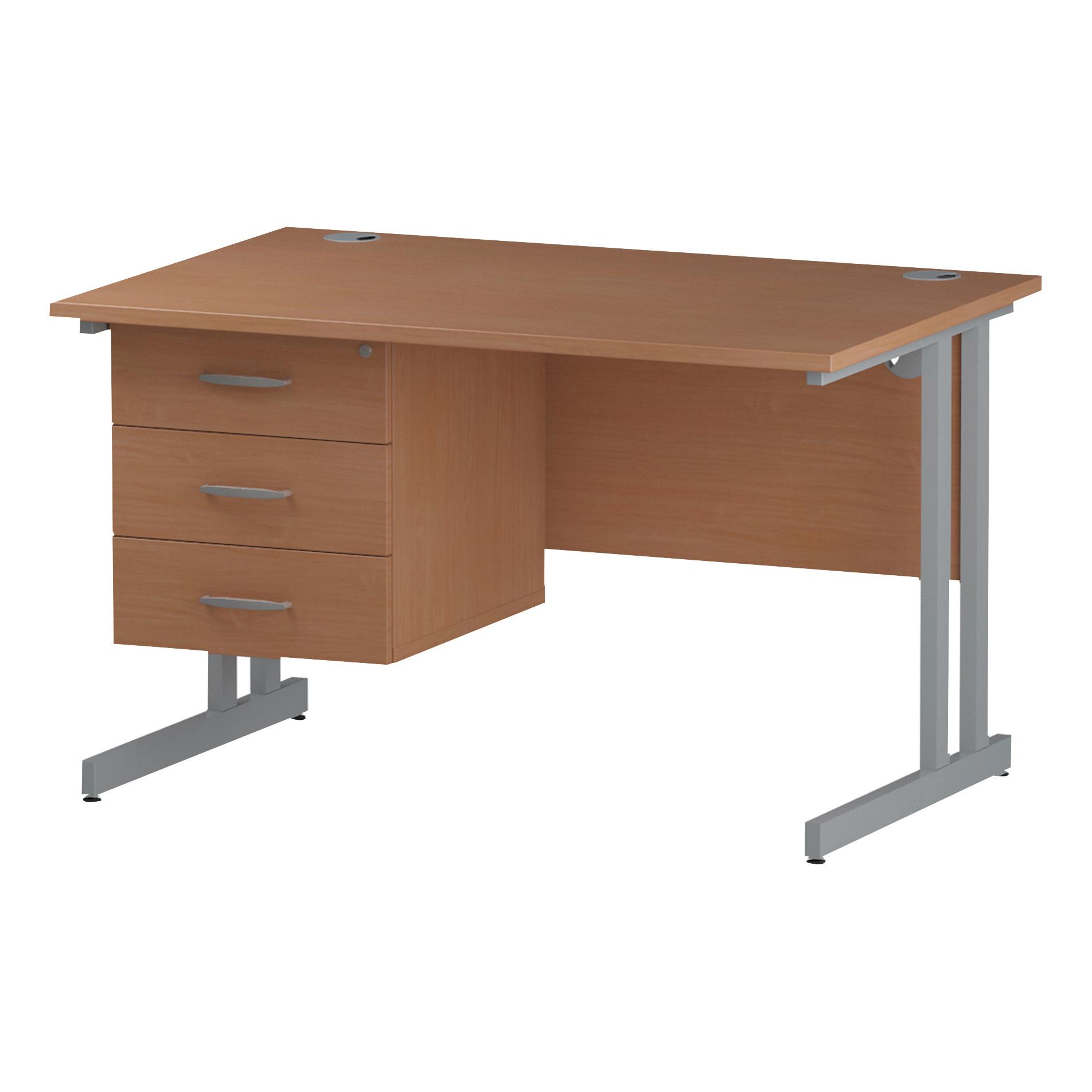 Trexus Rectangular Desk Silver Cantilever Leg 1200x800mm Fixed Pedestal 3 Drawers Beech Ref I001696