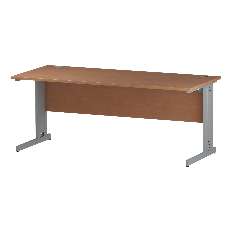 Trexus Rectangular Desk Silver Cable Managed Leg 1800x800mm Beech Ref I000462