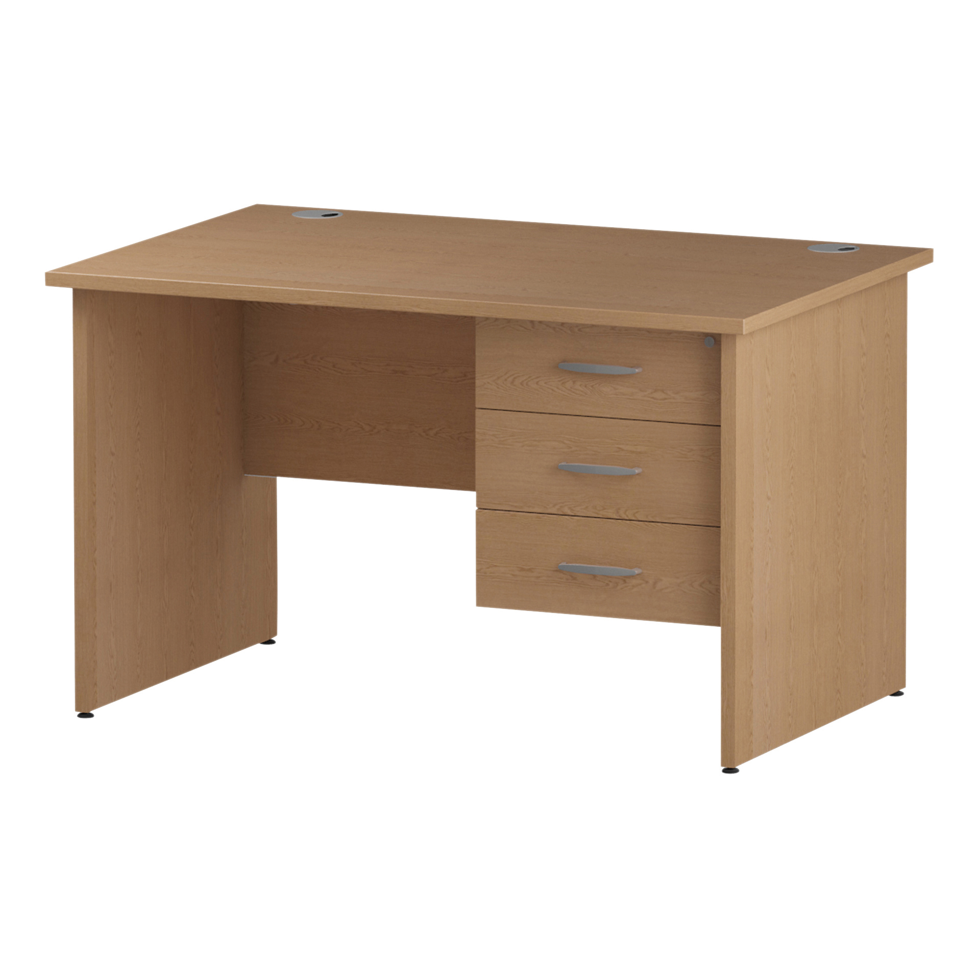 Trexus Rectangular Desk Panel End Leg 1200x800mm Fixed Pedestal 3 Drawers Oak Ref I002706