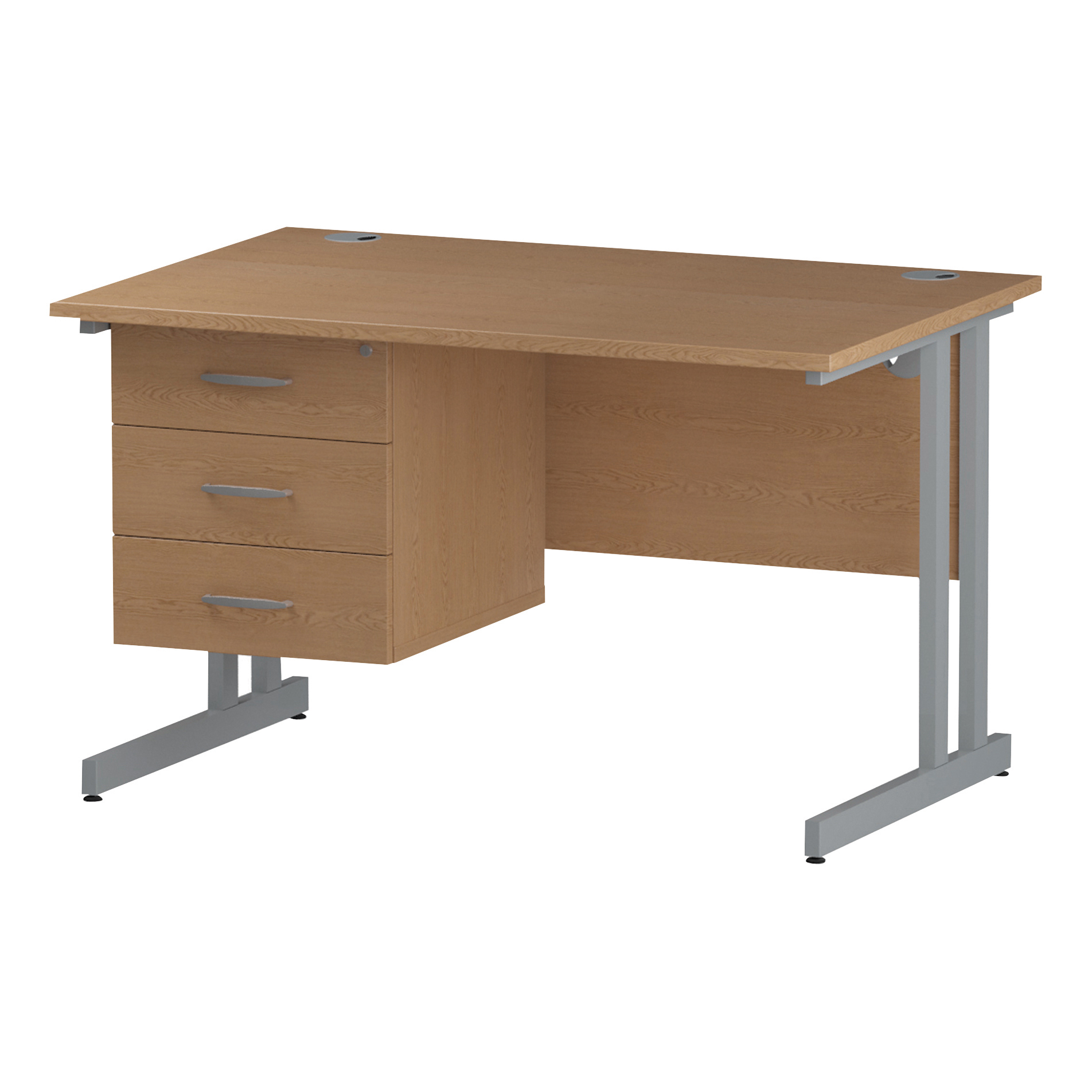 Trexus Rectangular Desk Silver Cantilever Leg 1200x800mm Fixed Pedestal 3 Drawers Oak Ref I002665