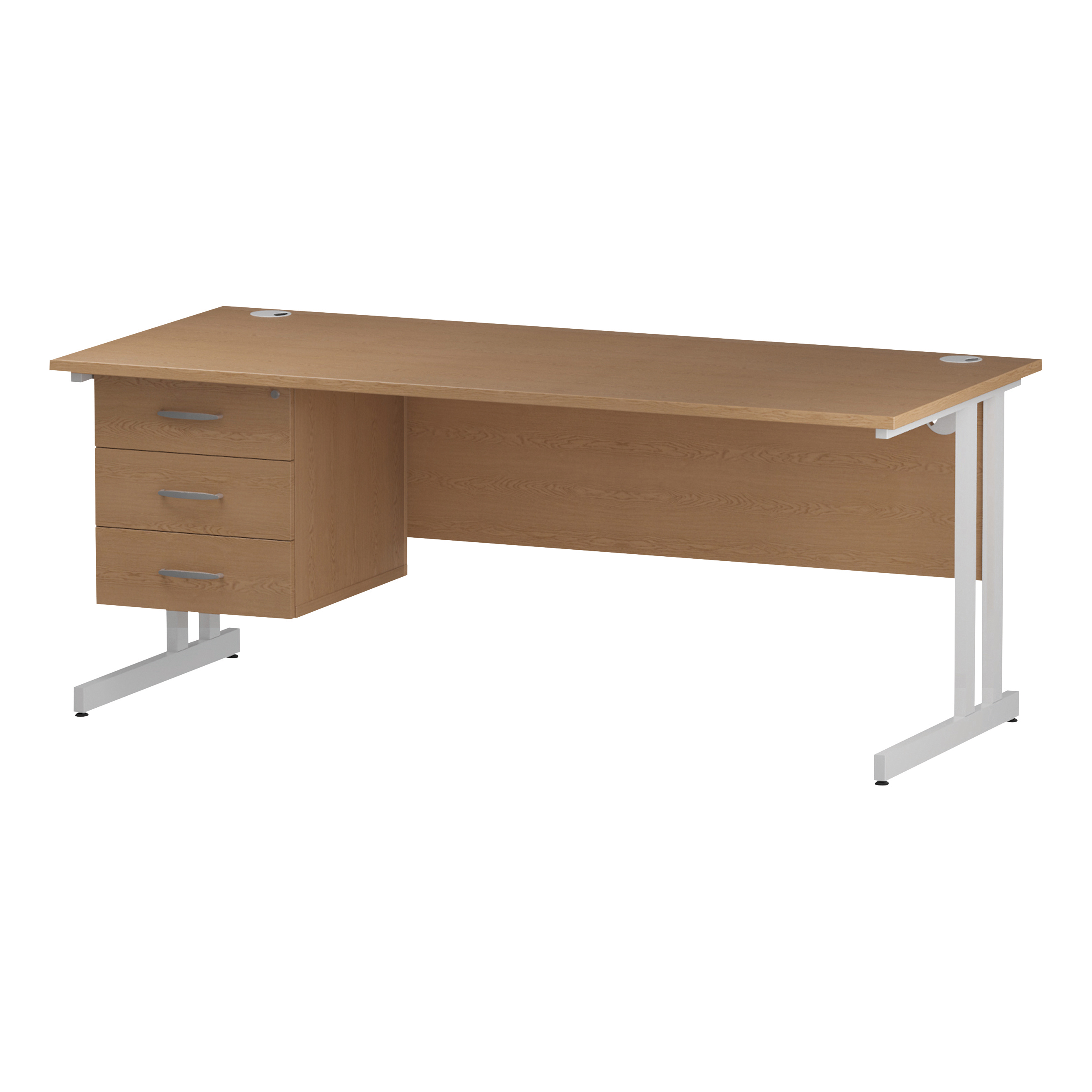 Trexus Rectangular Desk White Cantilever Leg 1800x800mm Fixed Pedestal 3 Drawers Oak Ref I002672