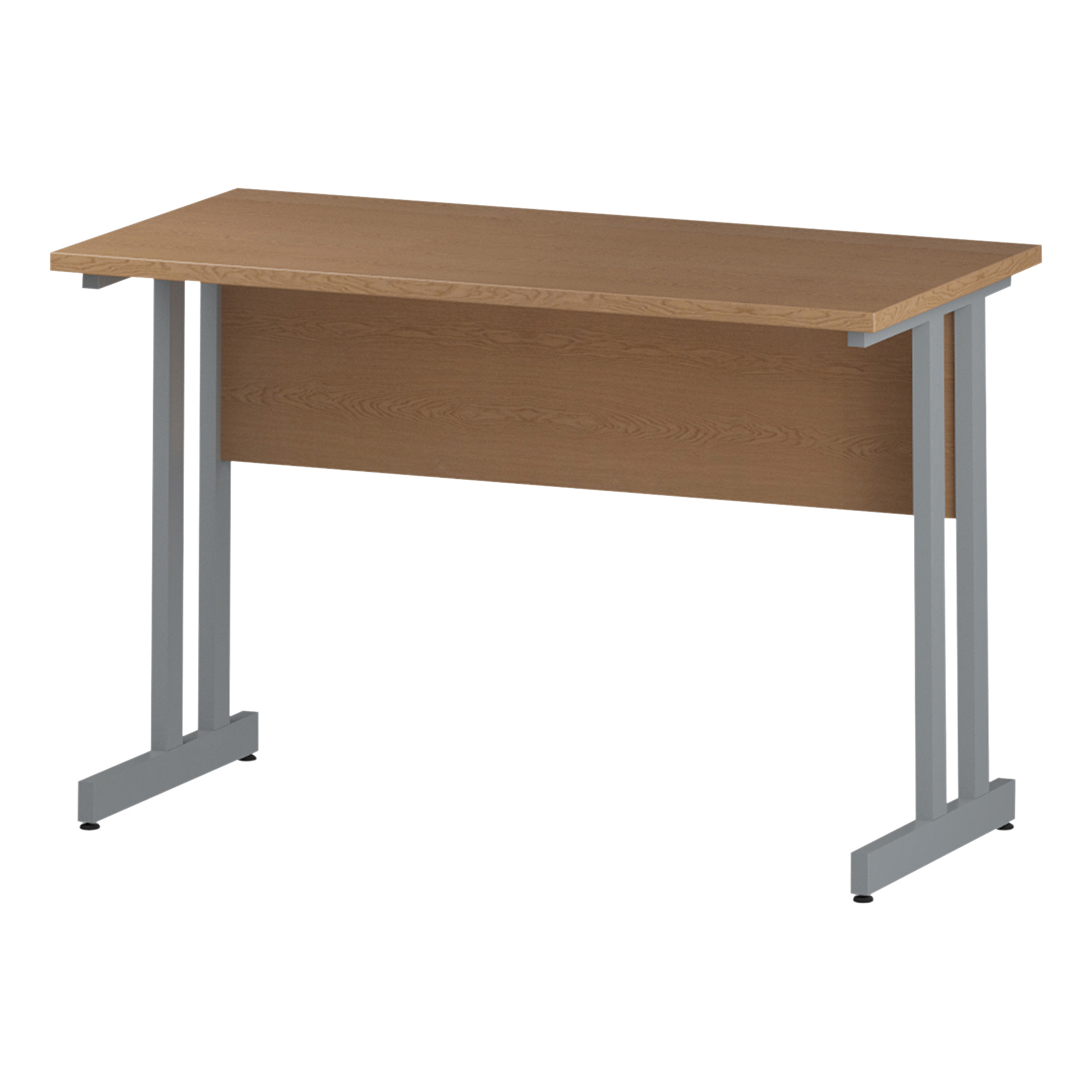 Trexus Rectangular Slim Desk Silver Cantilever Leg 1200x600mm Oak Ref I002648