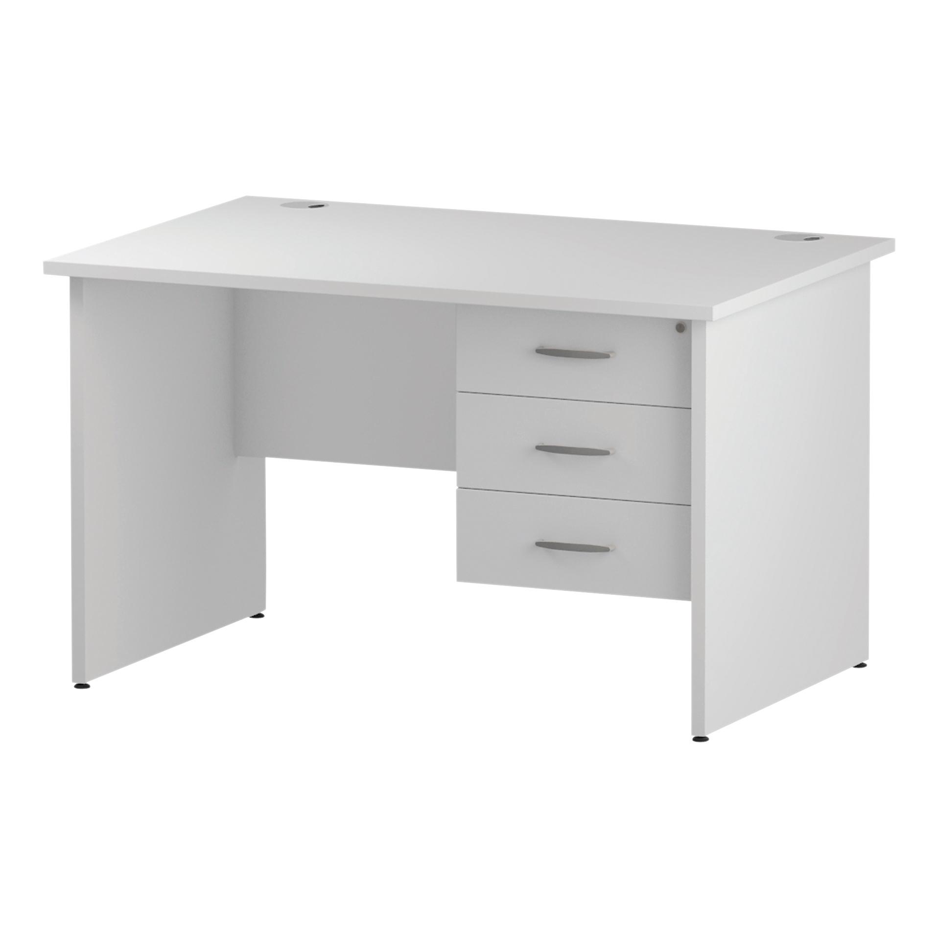 Trexus Rectangular Desk Panel End Leg 1200x800mm Fixed Pedestal 3 Drawers White Ref I002254