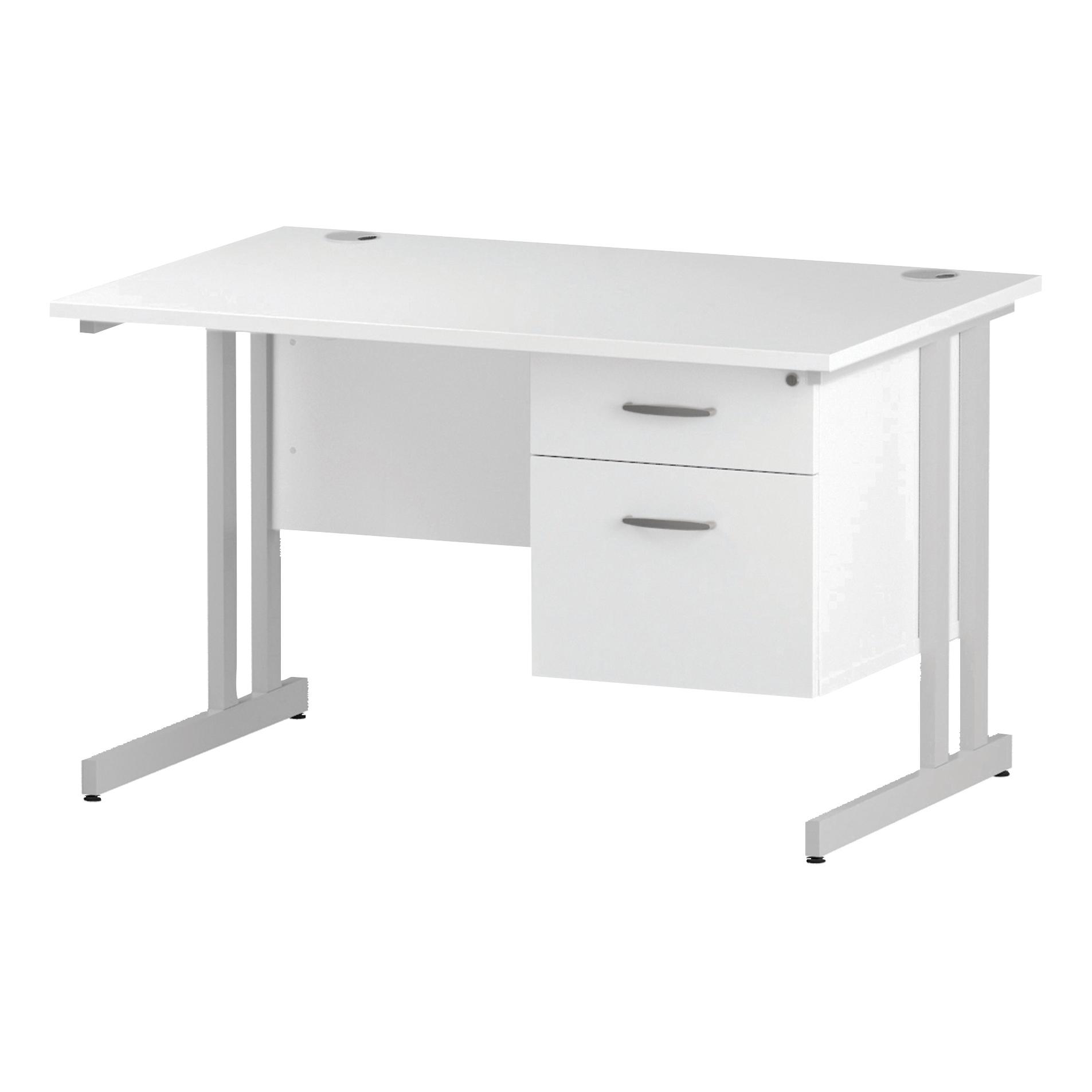 Trexus Rectangular Desk White Cantilever Leg 1200x800mm Fixed Pedestal 2 Drawers White Ref I002209