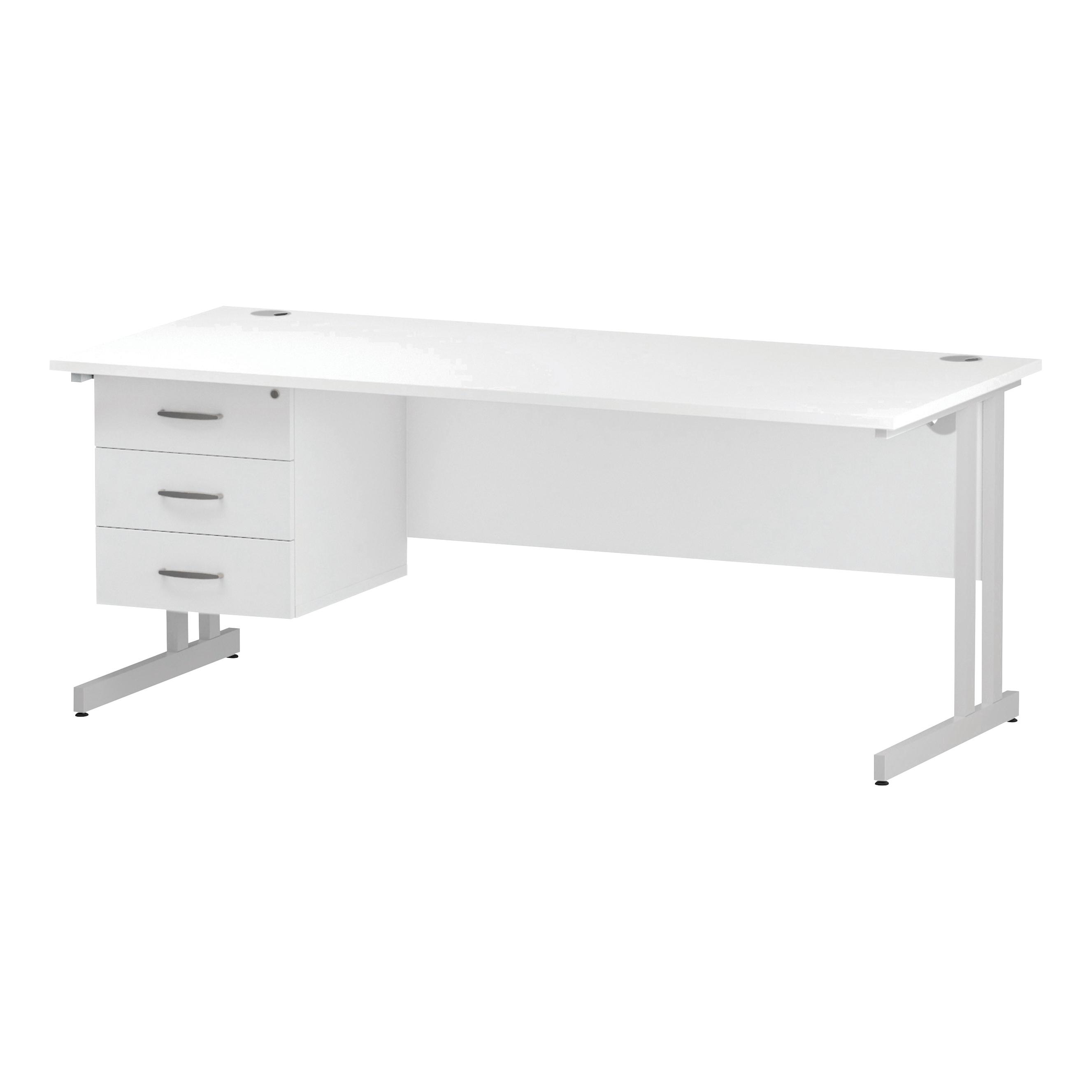 Trexus Rectangular Desk White Cantilever Leg 1800x800mm Fixed Pedestal 3 Drawers White Ref I002220