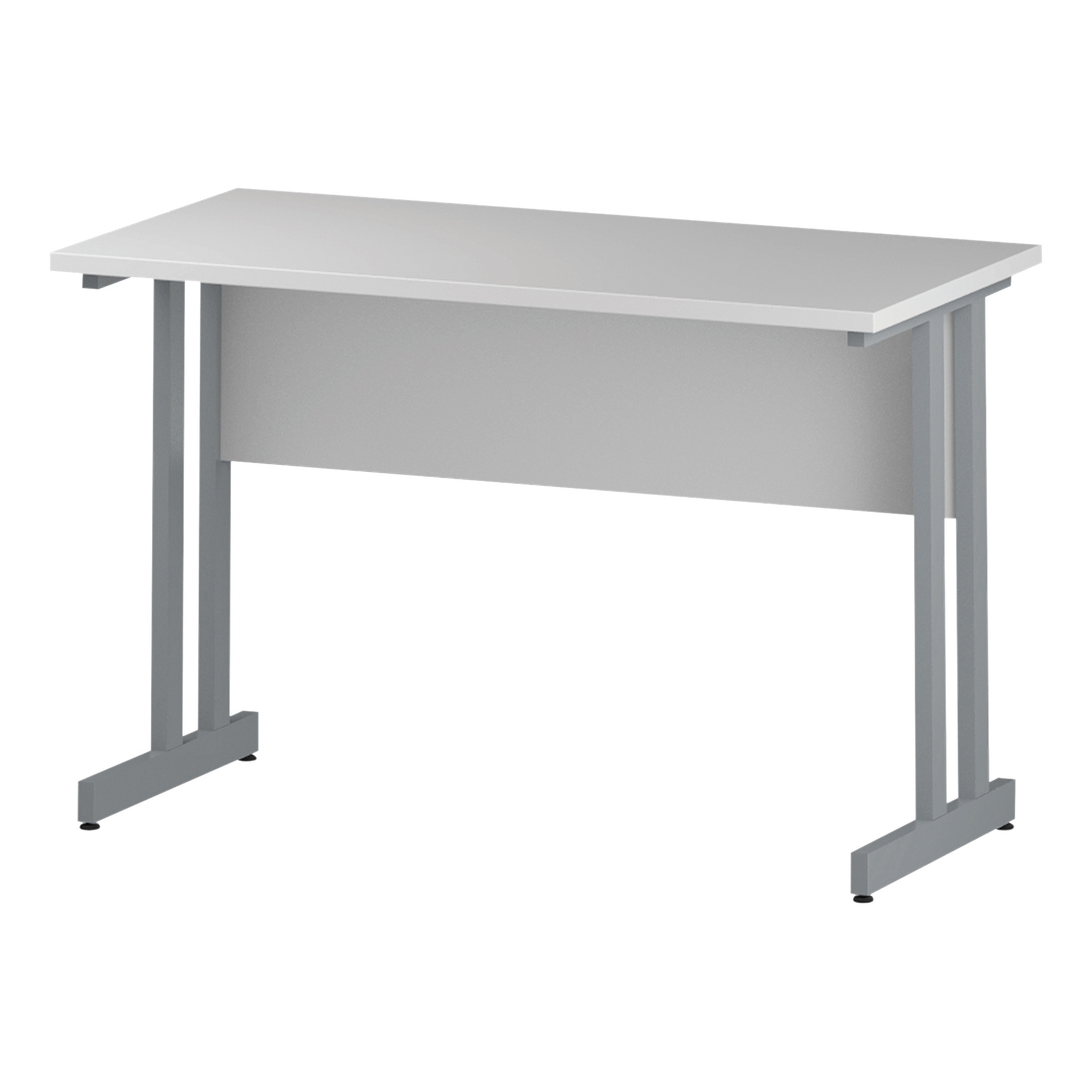 Trexus Rectangular Slim Desk Silver Cantilever Leg 1200x600mm White Ref I002196