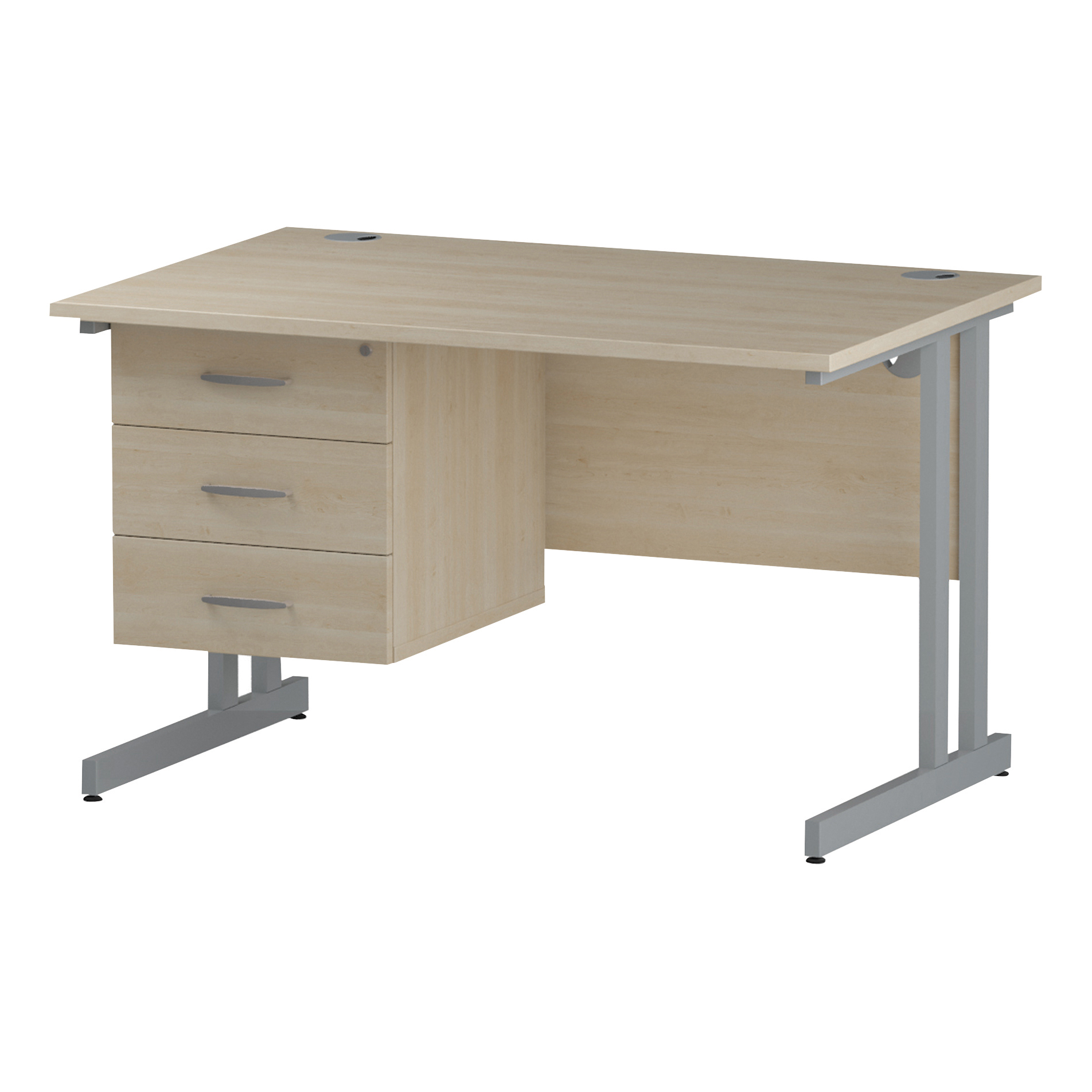 Trexus Rectangular Desk Silver Cantilever Leg 1200x800mm Fixed Pedestal 3 Drawers Maple Ref I002439