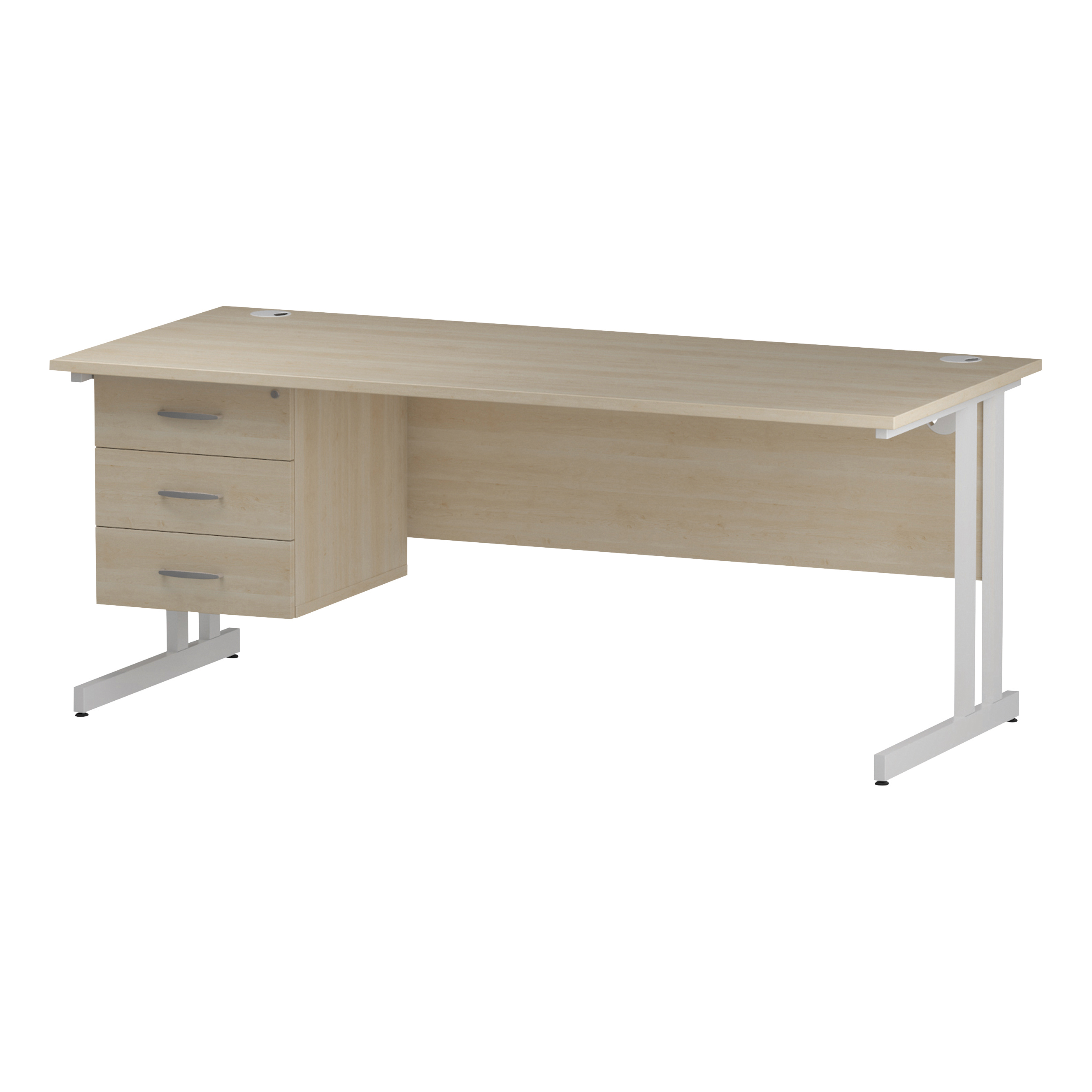 Trexus Rectangular Desk White Cantilever Leg 1800x800mm Fixed Pedestal 3 Drawers Maple Ref I002446