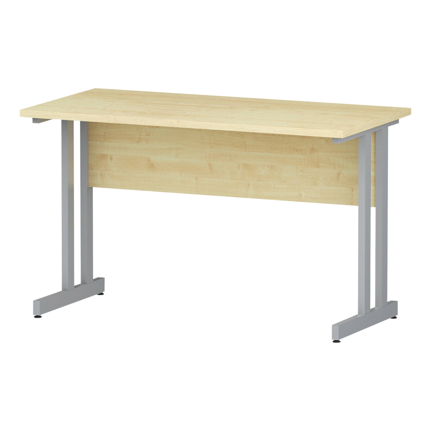 Trexus Rectangular Slim Desk Silver Cantilever Leg 1200x600mm Maple Ref I002422