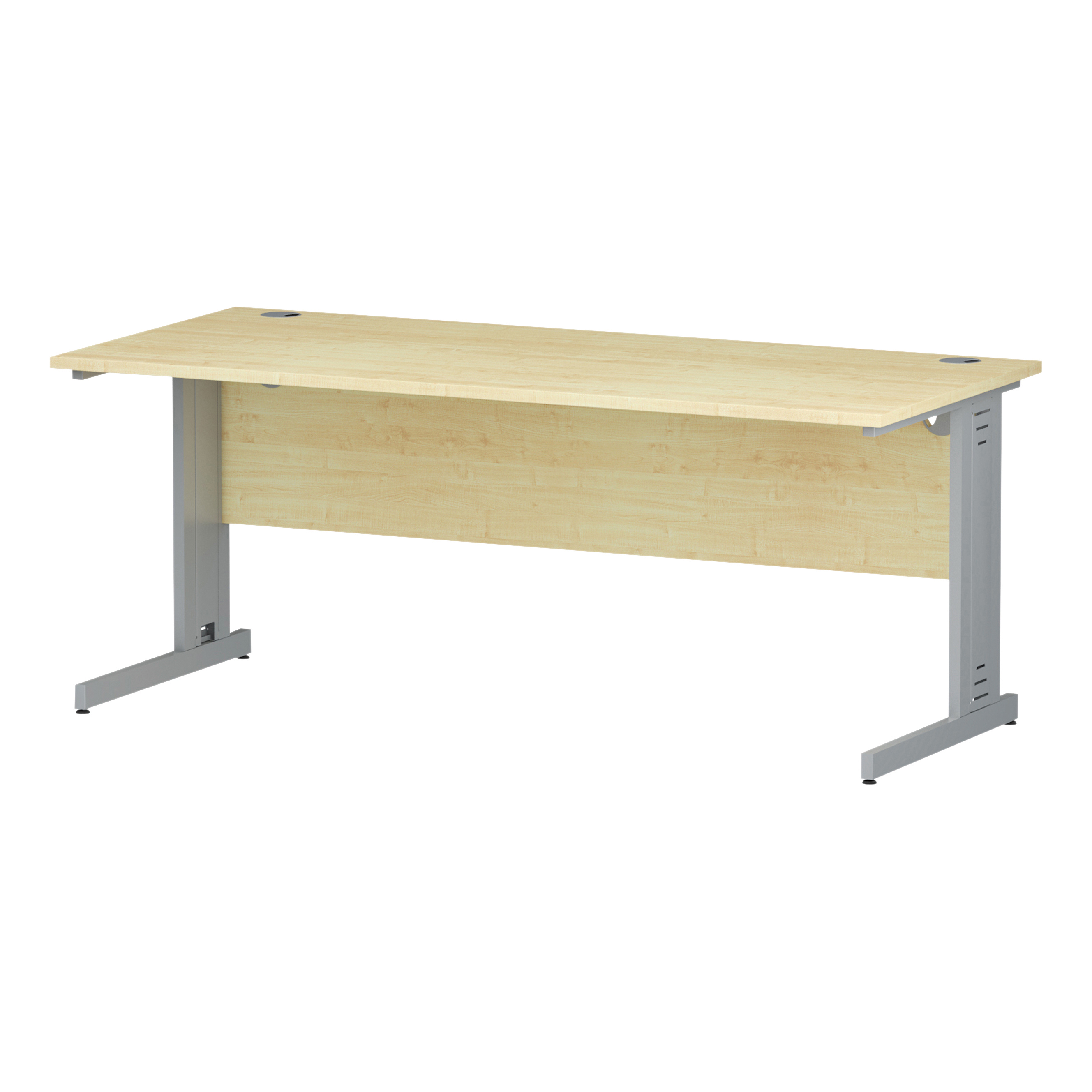 Trexus Rectangular Desk Silver Cable Managed Leg 1800x800mm Maple Ref I000519