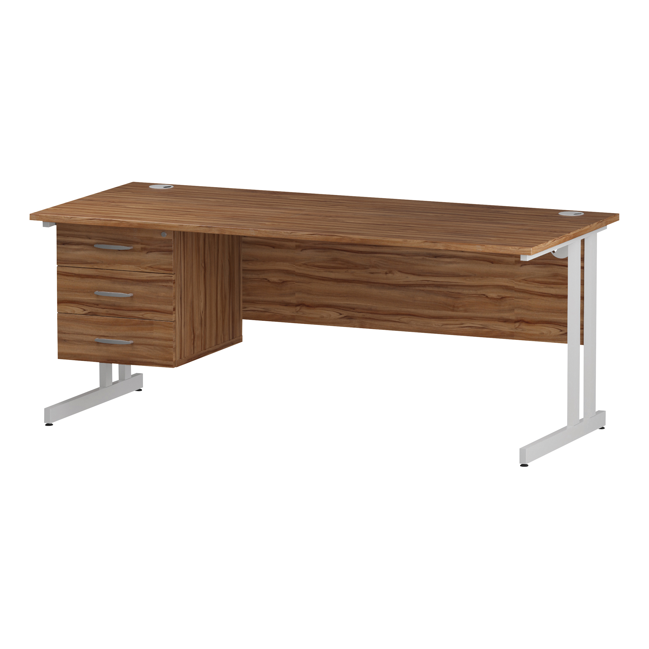 Trexus Rectangular Desk White Cantilever Leg 1800x800mm Fixed Pedestal 3 Drawers Walnut Ref I001934