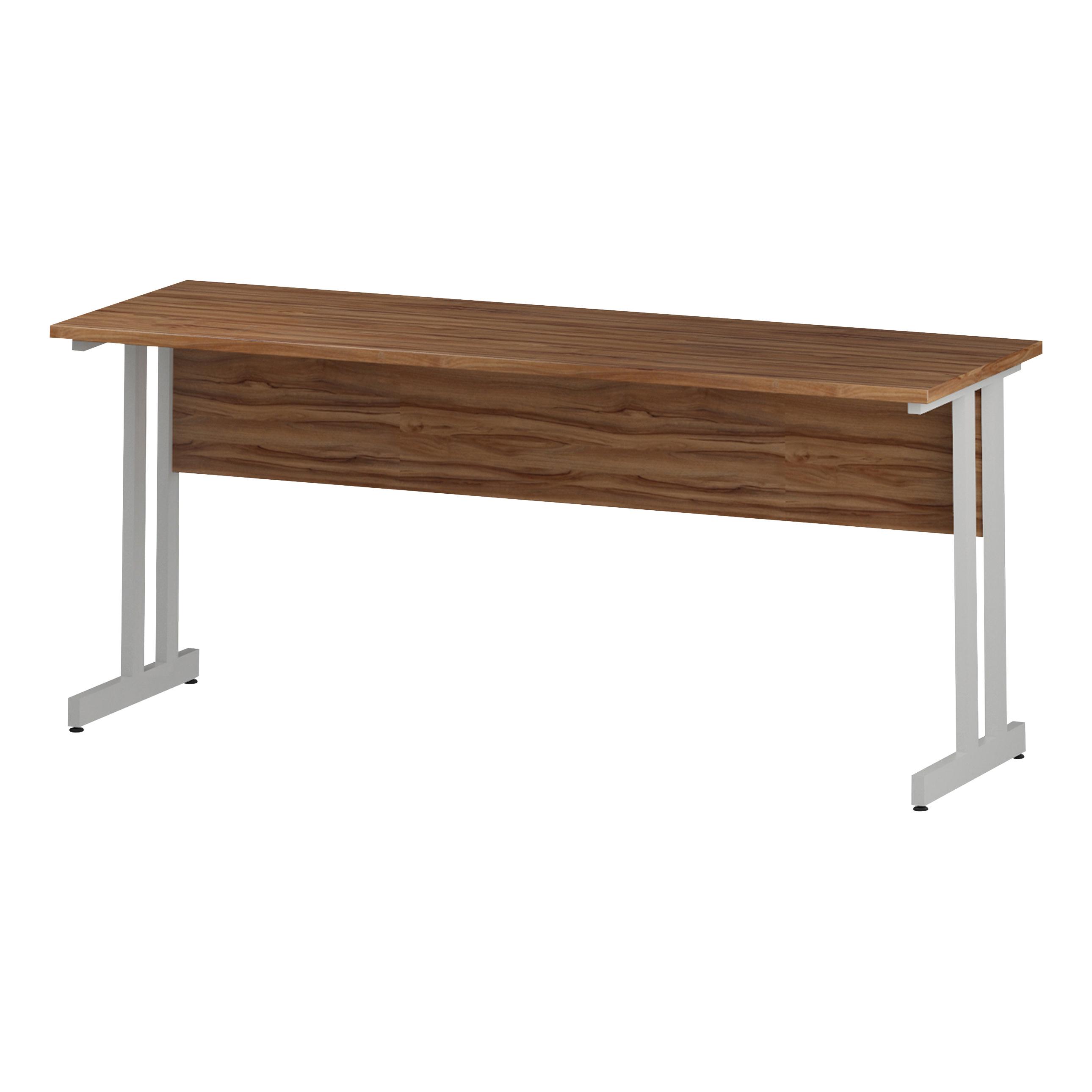 Trexus Rectangular Slim Desk White Cantilever Leg 1800x600mm Walnut Ref I001918