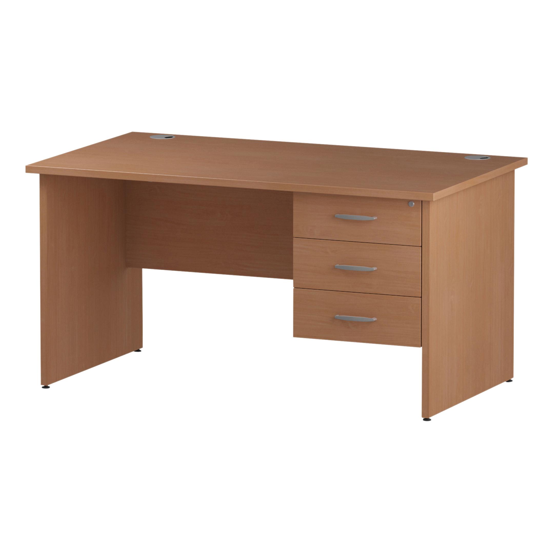 Trexus Rectangular Desk Panel End Leg 1400x800mm Fixed Pedestal 3 Drawers Beech Ref I001738