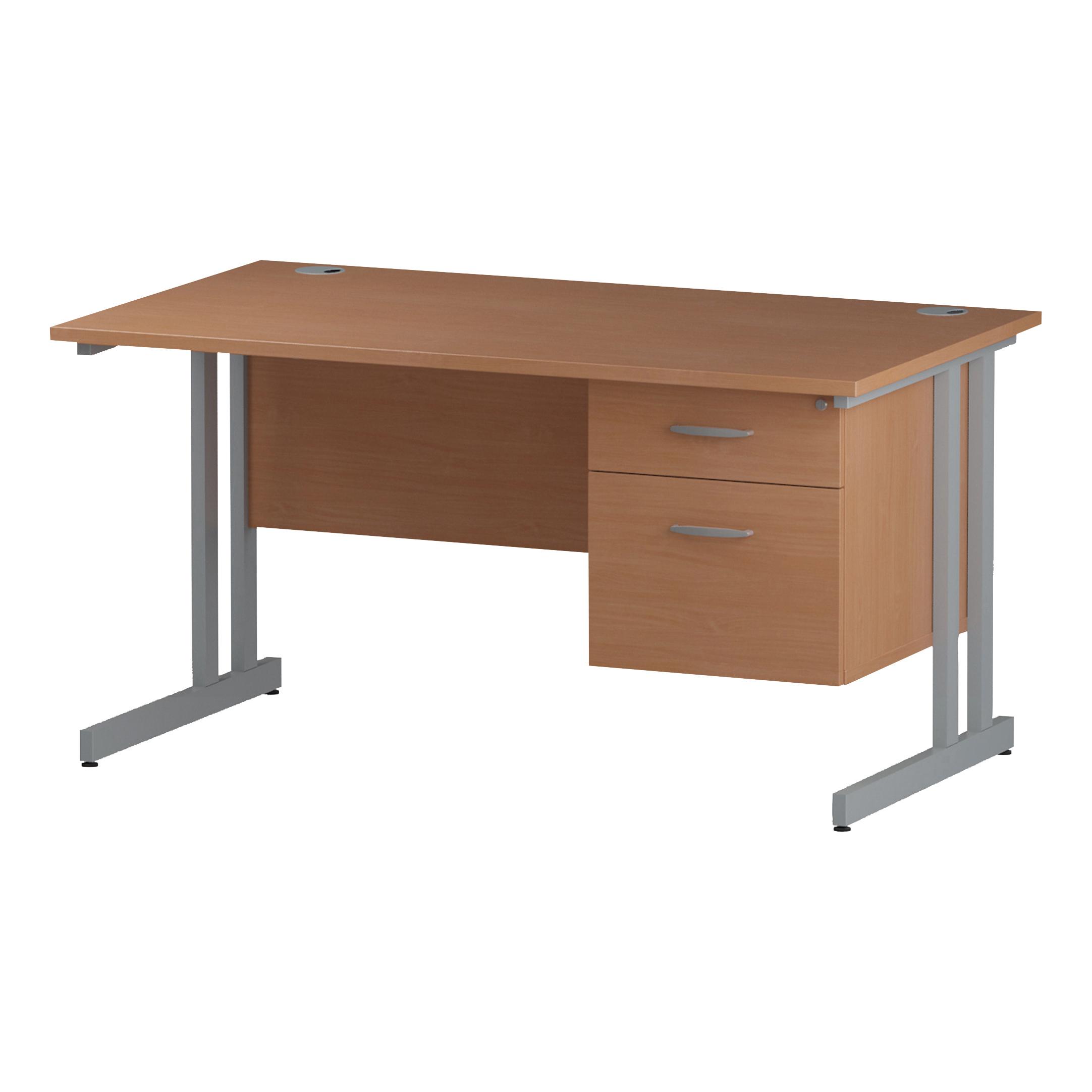 Trexus Rectangular Desk Silver Cantilever Leg 1400x800mm Fixed Pedestal 2 Drawers Beech Ref I001689