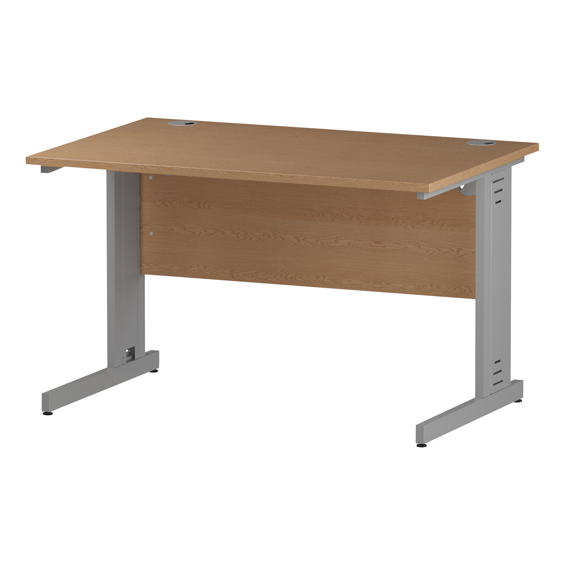 Trexus Rectangular Desk Silver Cable Managed Leg 1200x800mm Oak Ref I000850