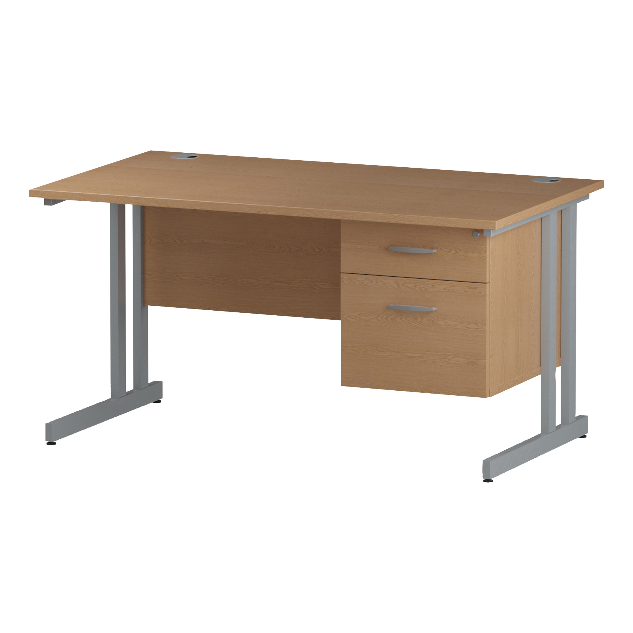 Trexus Rectangular Desk Silver Cantilever Leg 1400x800mm Fixed Pedestal 2 Drawers Oak Ref I002658