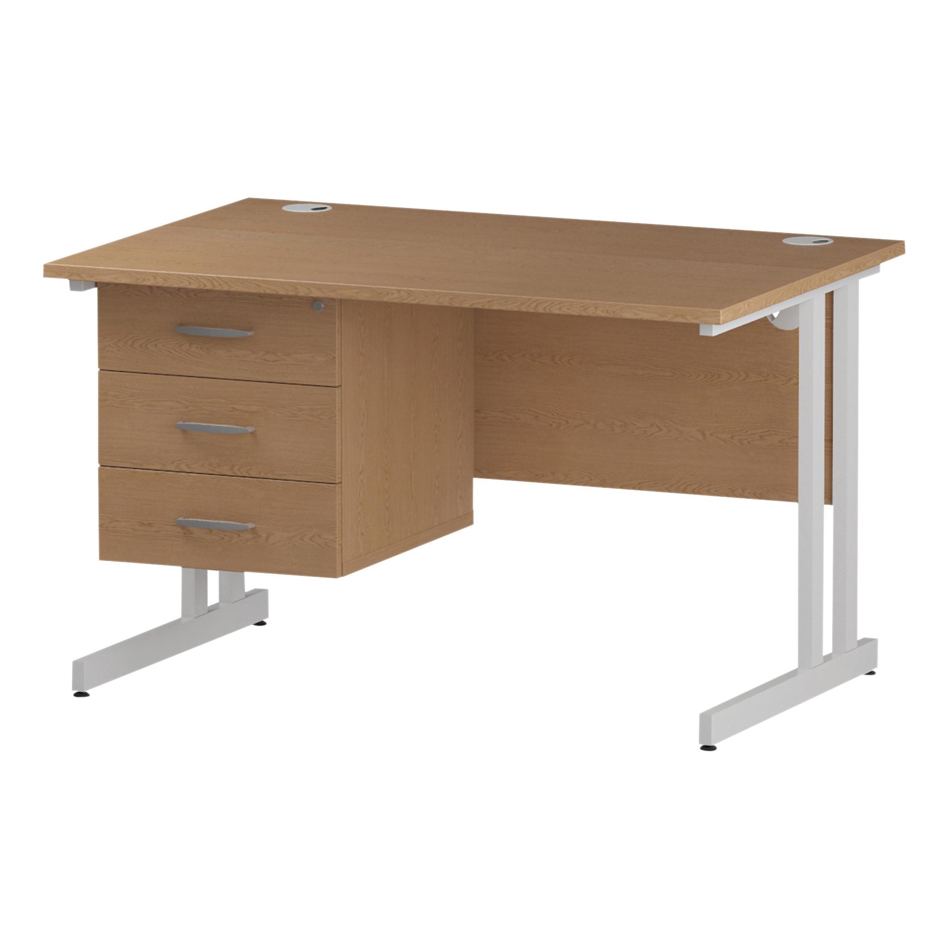 Trexus Rectangular Desk White Cantilever Leg 1200x800mm Fixed Pedestal 3 Drawers Oak Ref I002669