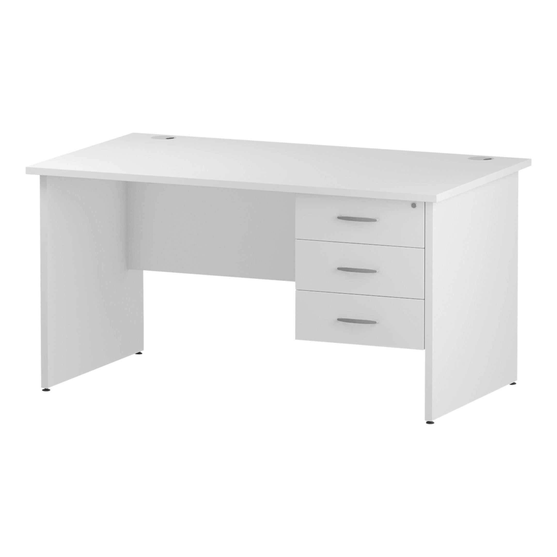 Trexus Rectangular Desk Panel End Leg 1400x800mm Fixed Pedestal 3 Drawers White Ref I002255