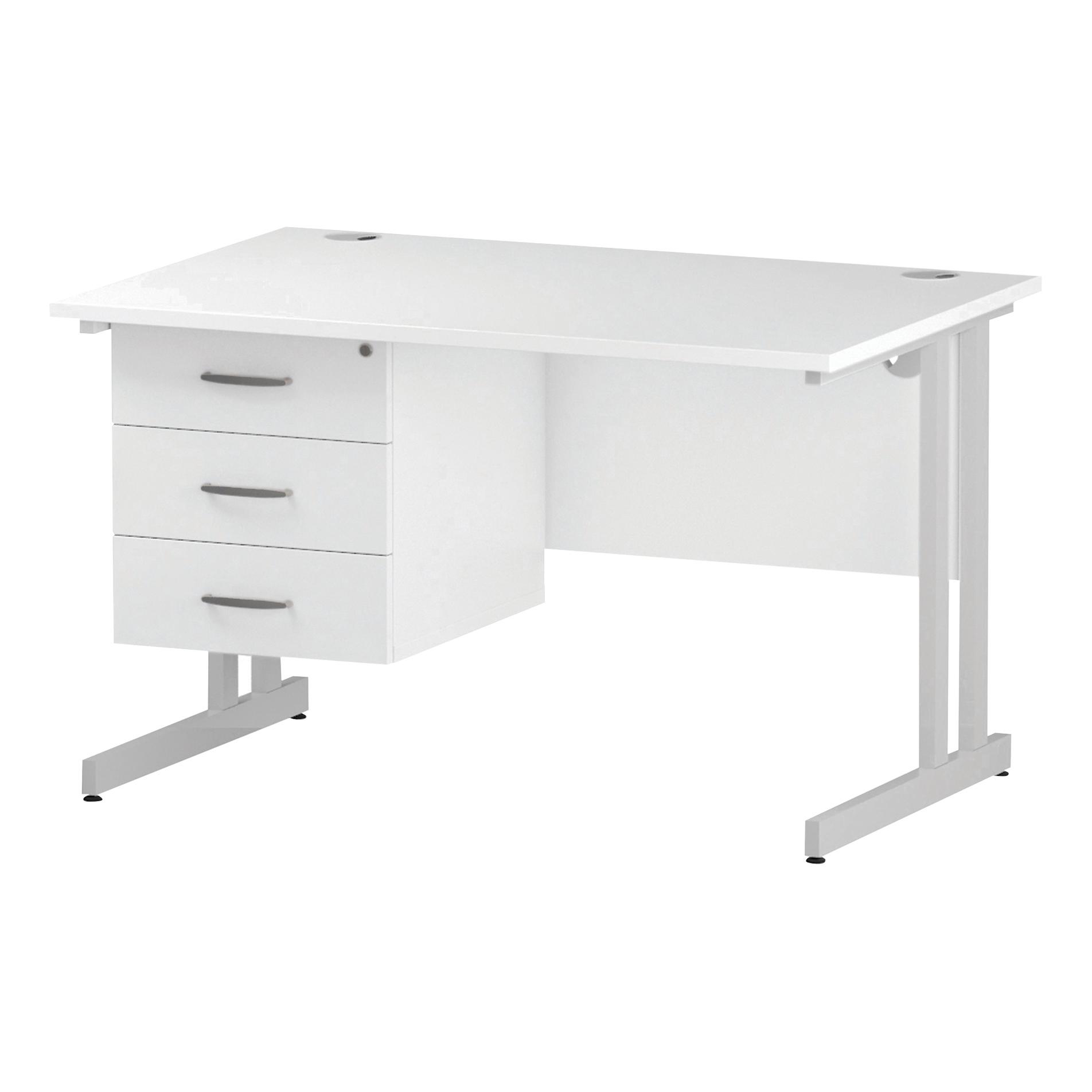 Trexus Rectangular Desk White Cantilever Leg 1200x800mm Fixed Pedestal 3 Drawers White Ref I002217