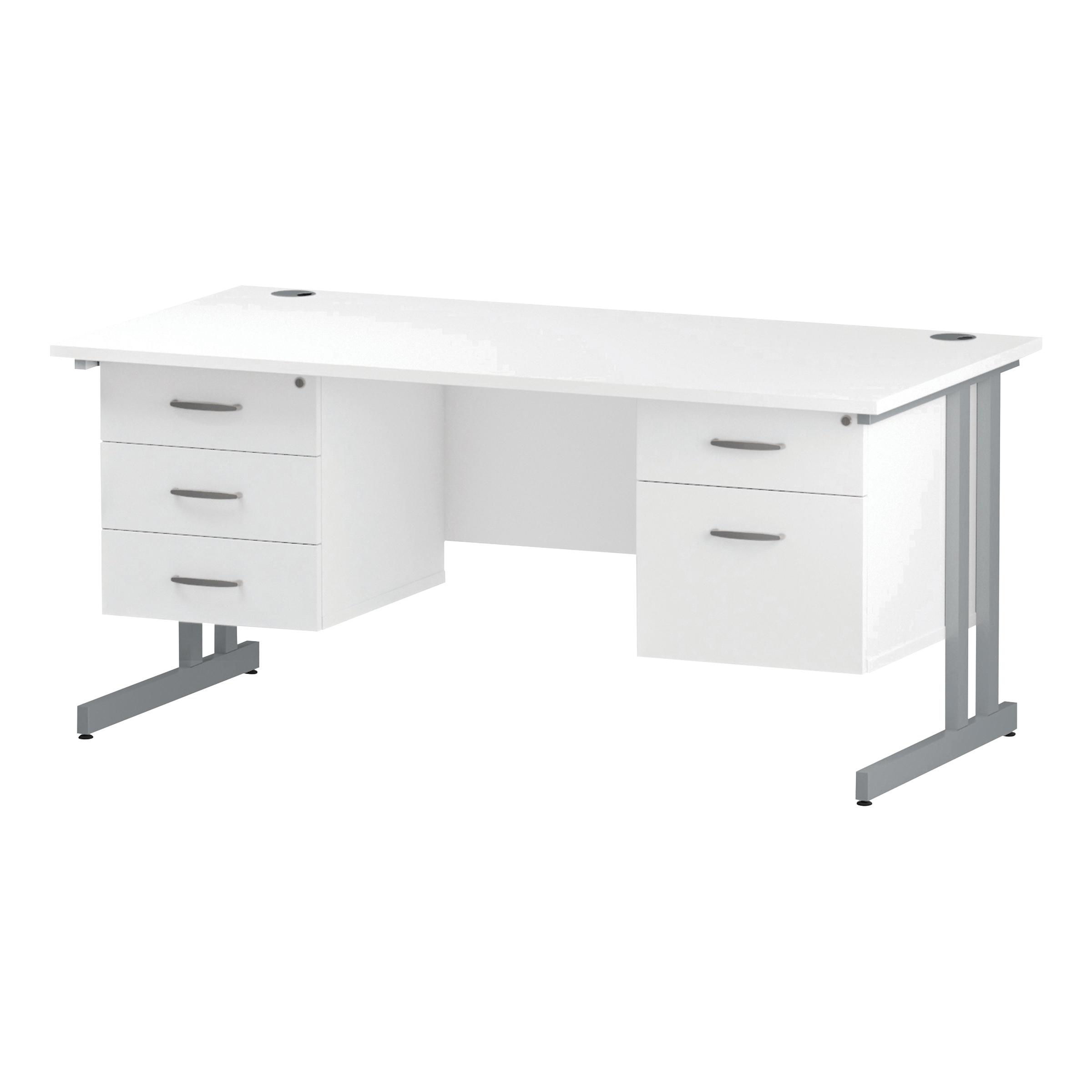 Trexus Rectangular Desk Silver Cantilever Leg 1600x800mm Double Fixed Ped 2&3 Drawers White Ref I002239