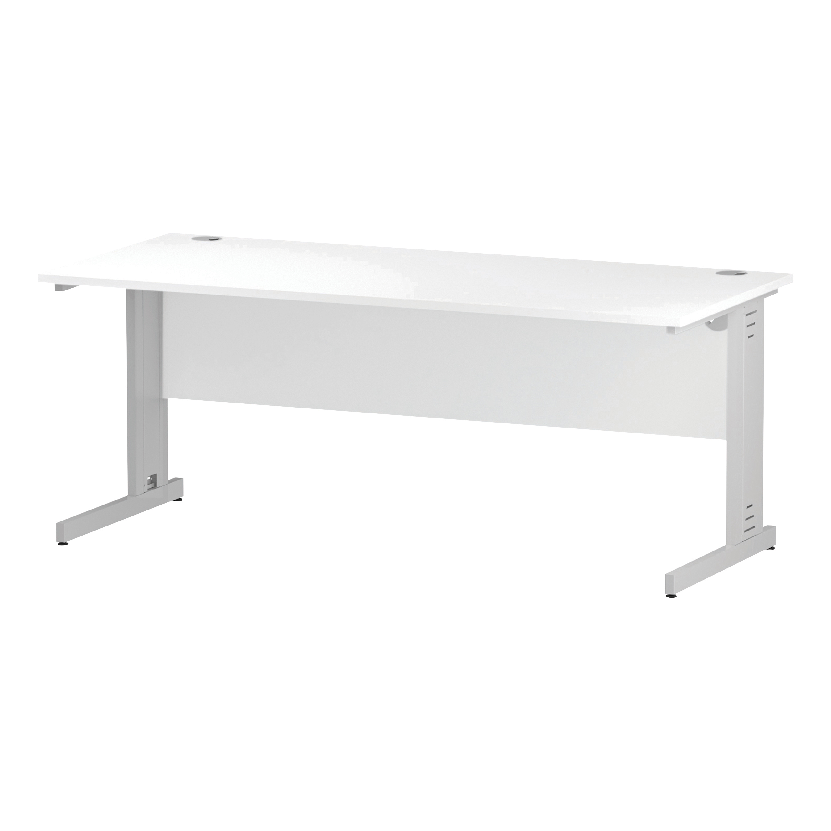 Trexus Rectangular Desk White Cable Managed Leg 1800x800mm White Ref I002274