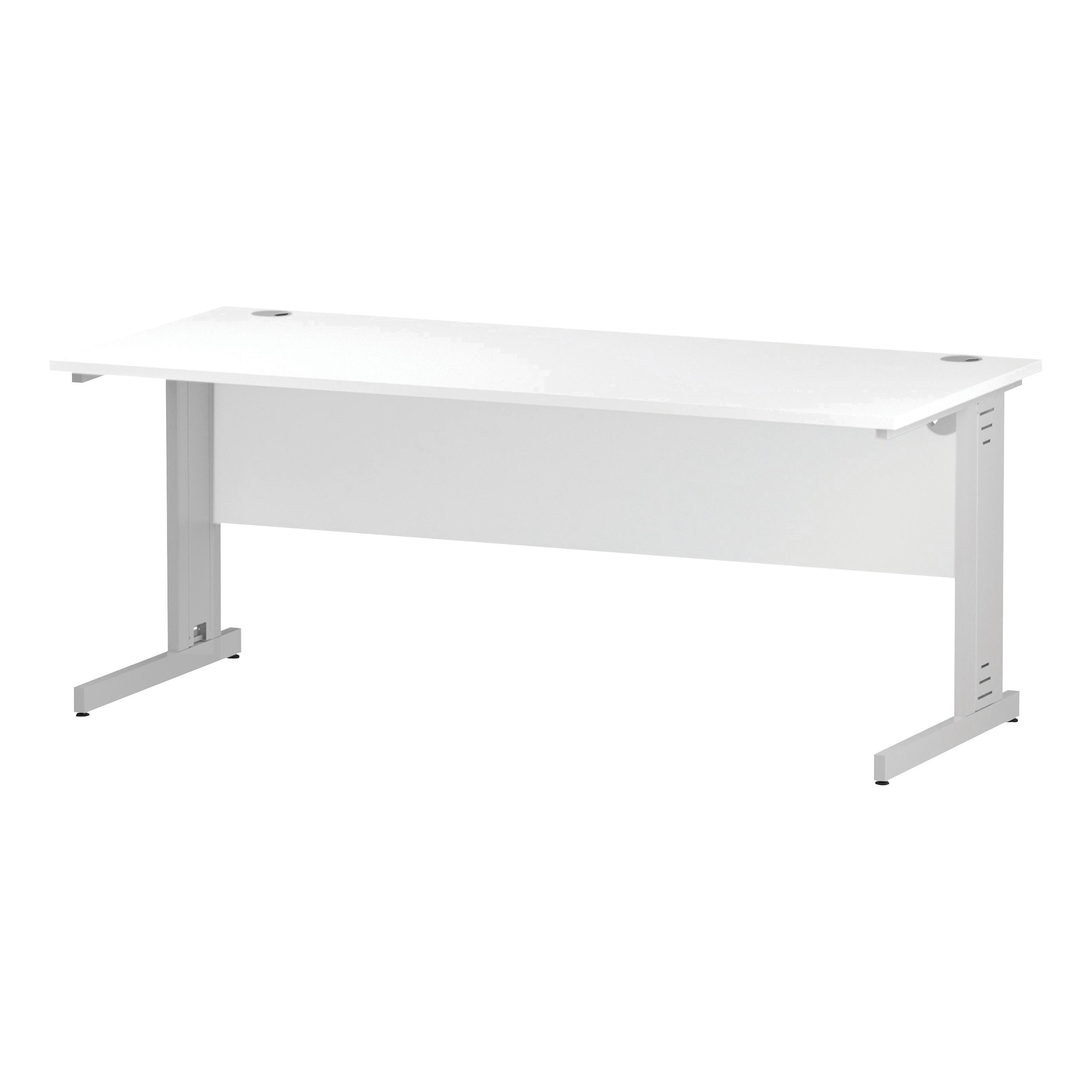 Trexus Rectangular Desk White Cable Managed Leg 1800x800mm White Ref I002274