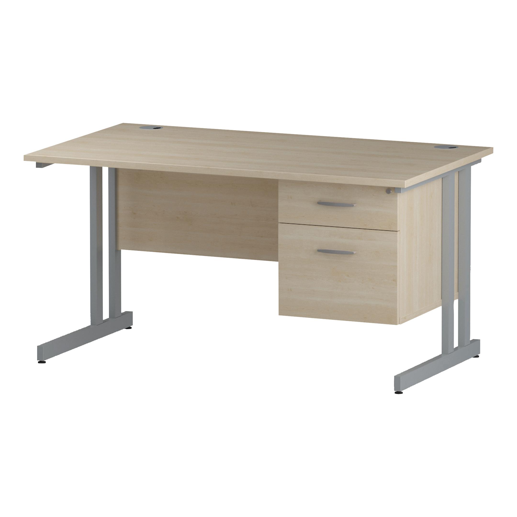 Trexus Rectangular Desk Silver Cantilever Leg 1400x800mm Fixed Pedestal 2 Drawers Maple Ref I002432