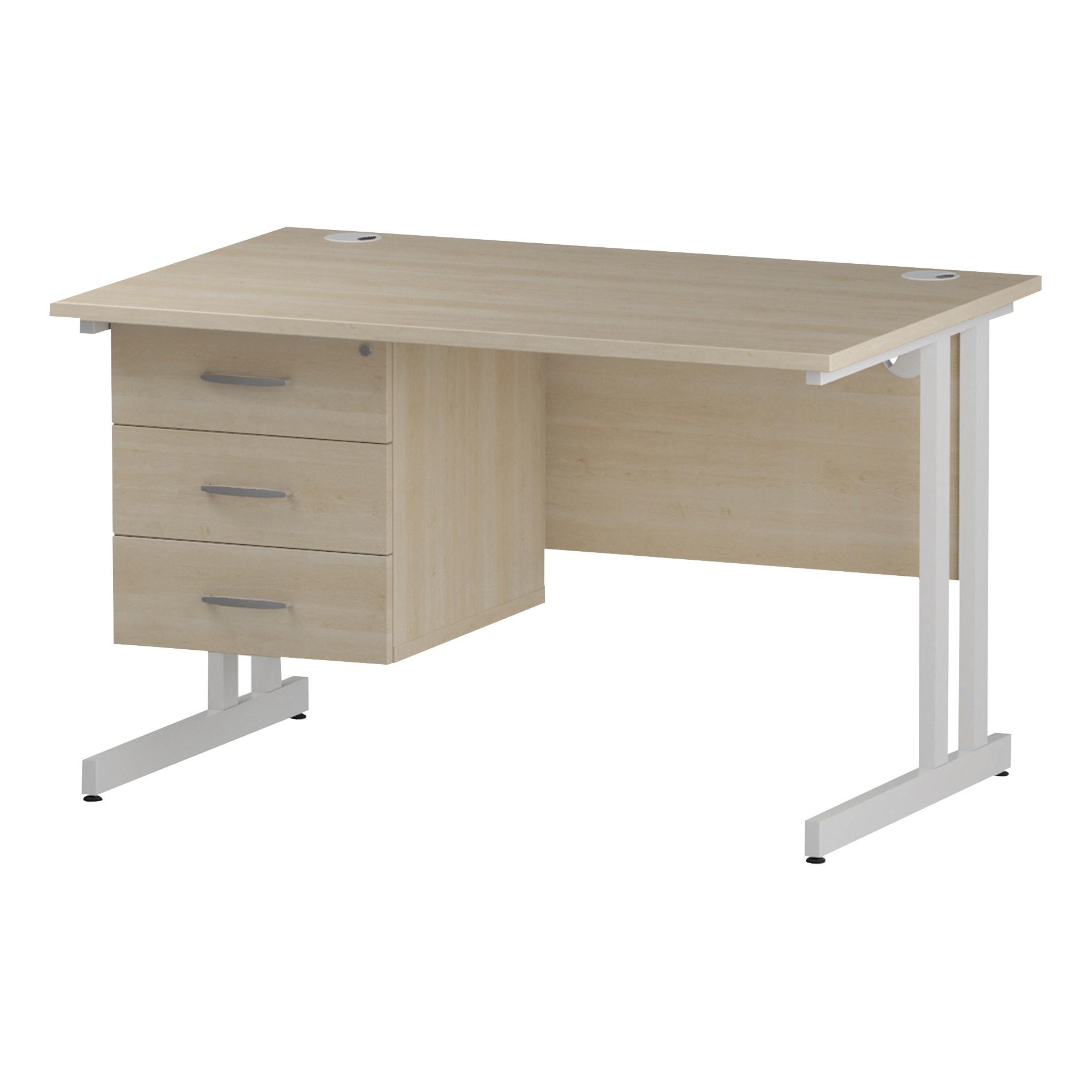 Trexus Rectangular Desk White Cantilever Leg 1200x800mm Fixed Pedestal 3 Drawers Maple Ref I002443