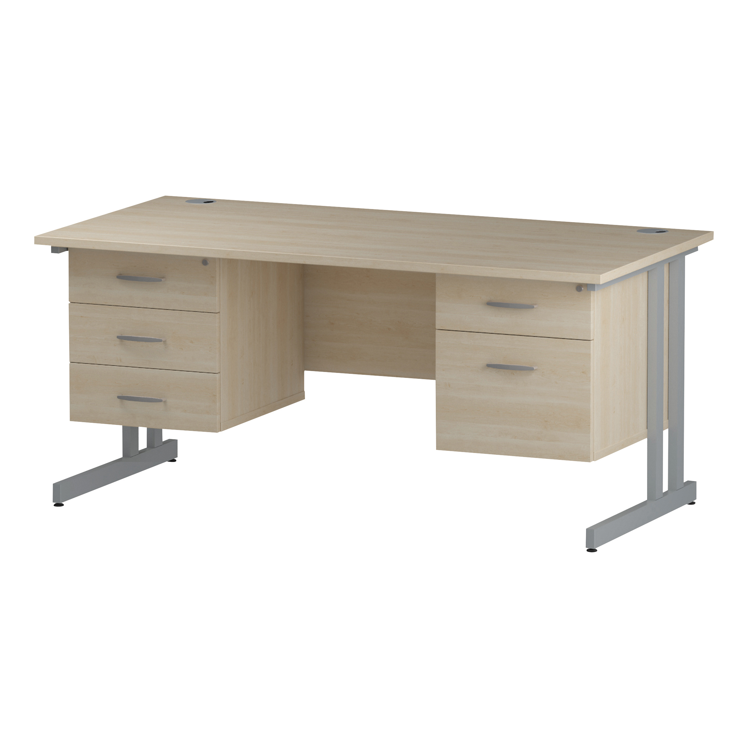 Trexus Rectangular Desk Silver Cantilever Leg 1600x800mm Double Fixed Ped 2&3 Drawers Maple Ref I002465